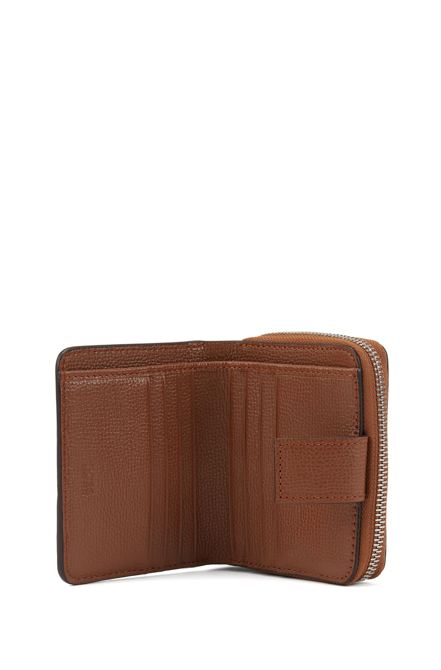 Small ziparound wallet in grainy Italian leather, Light Brown