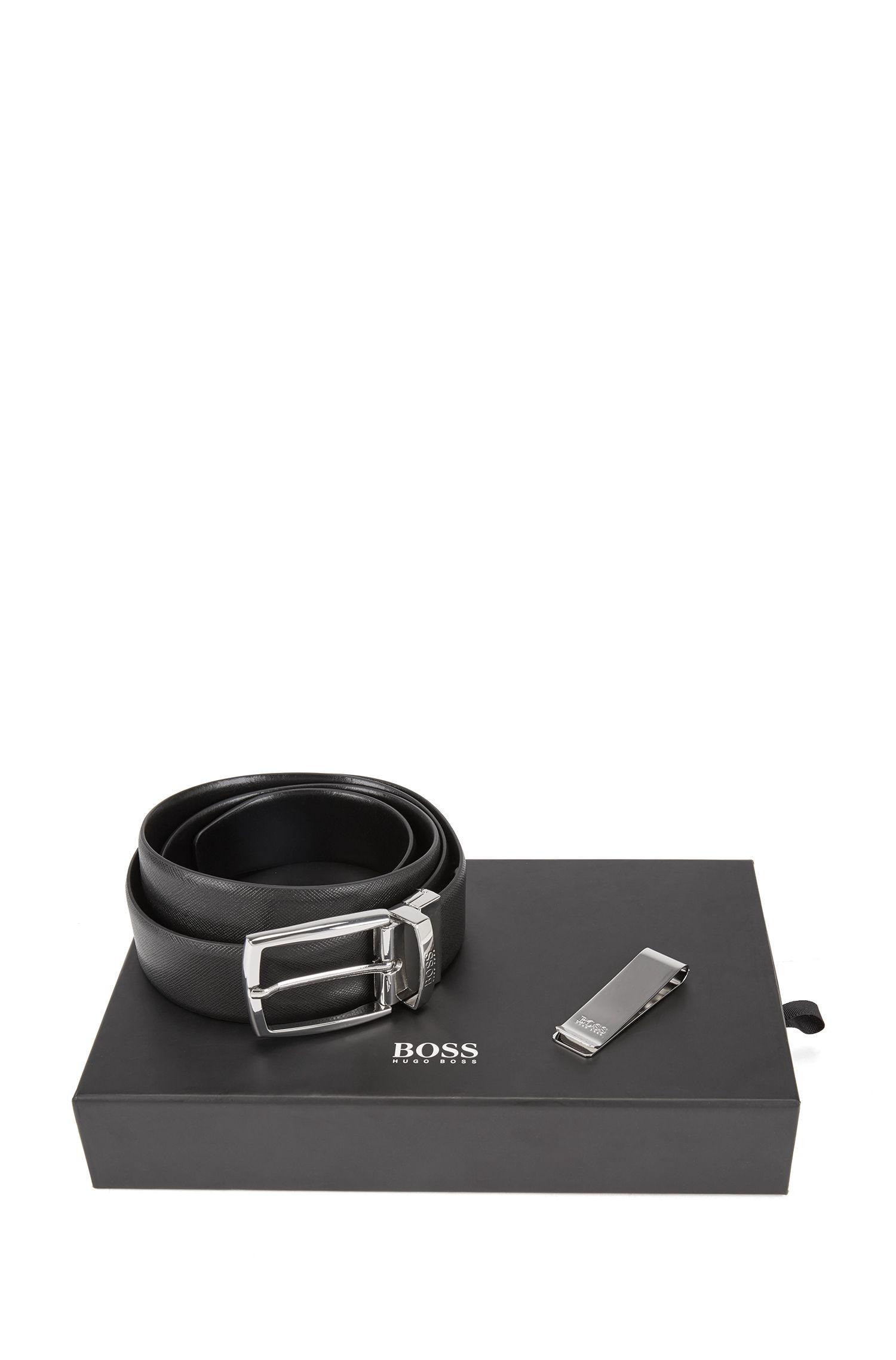 Cadeauset met tweezijdig te dragen leren ceintuur en metalen geldclip, Zwart