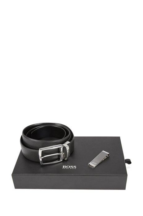 Set de regalo con cinturón reversible de piel y pinza metálica para  billetes e518a32045ca