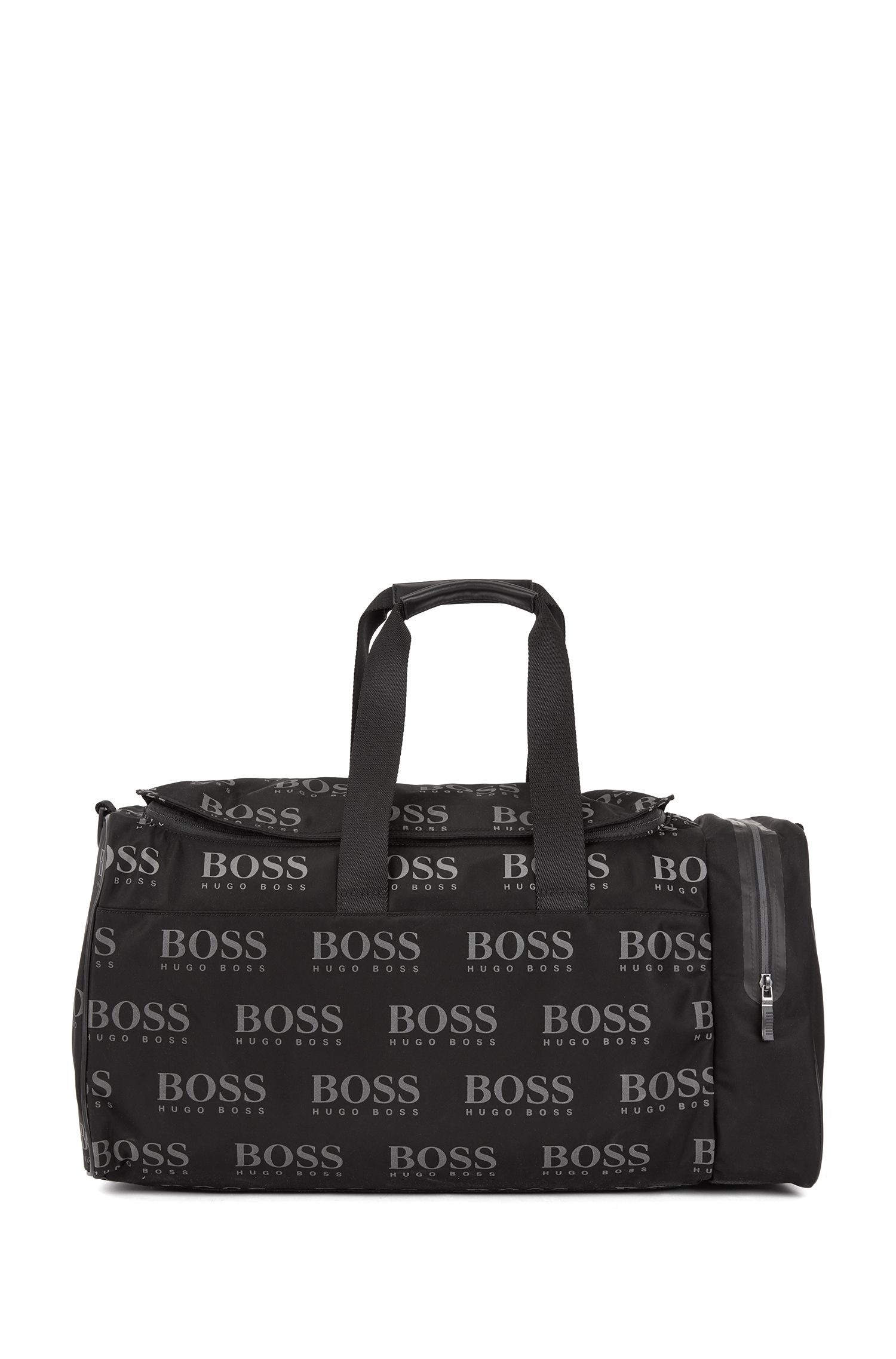 Logo-print holdall in gabardine nylon with reflective details, Black