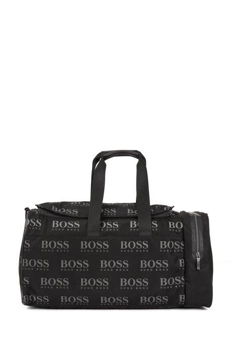 Sporttasche aus Nylon-Gabardine mit Logo-Print und reflektierenden Details, Schwarz