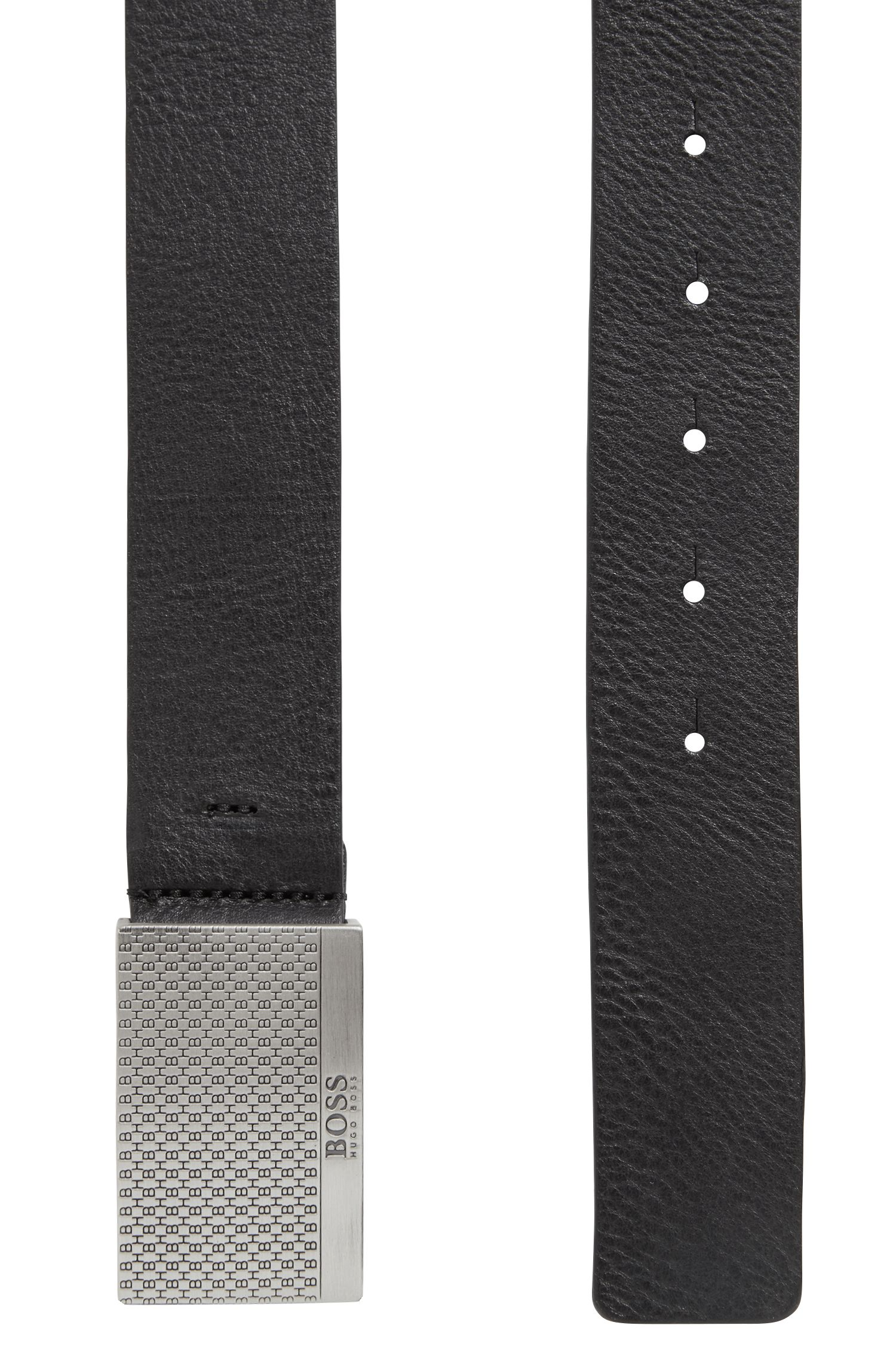 Leather belt with monogrammed plaque buckle, Black