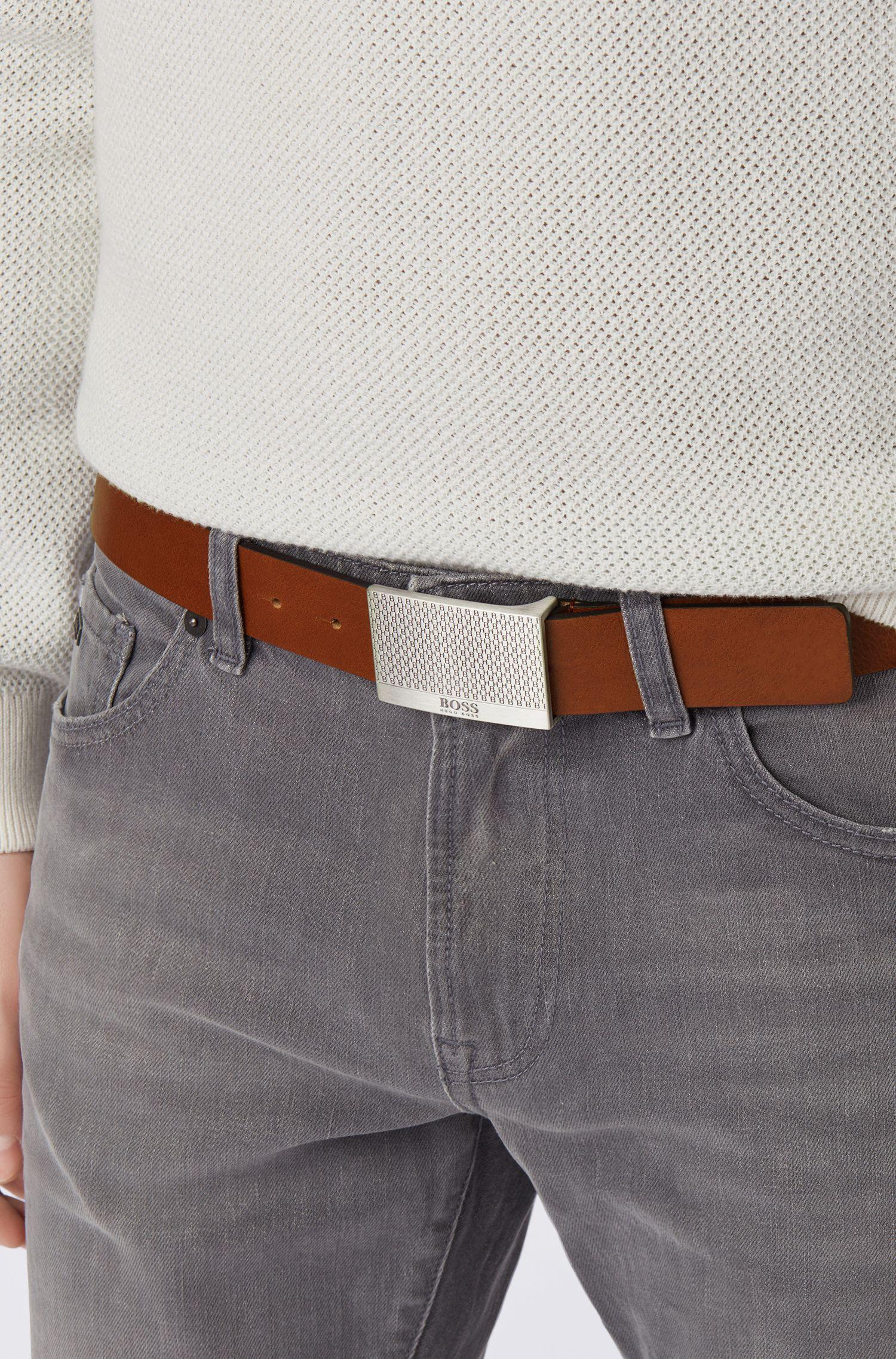 Hugo Boss - Ledergürtel mit Koppelschließe im Monogramm-Design - 4