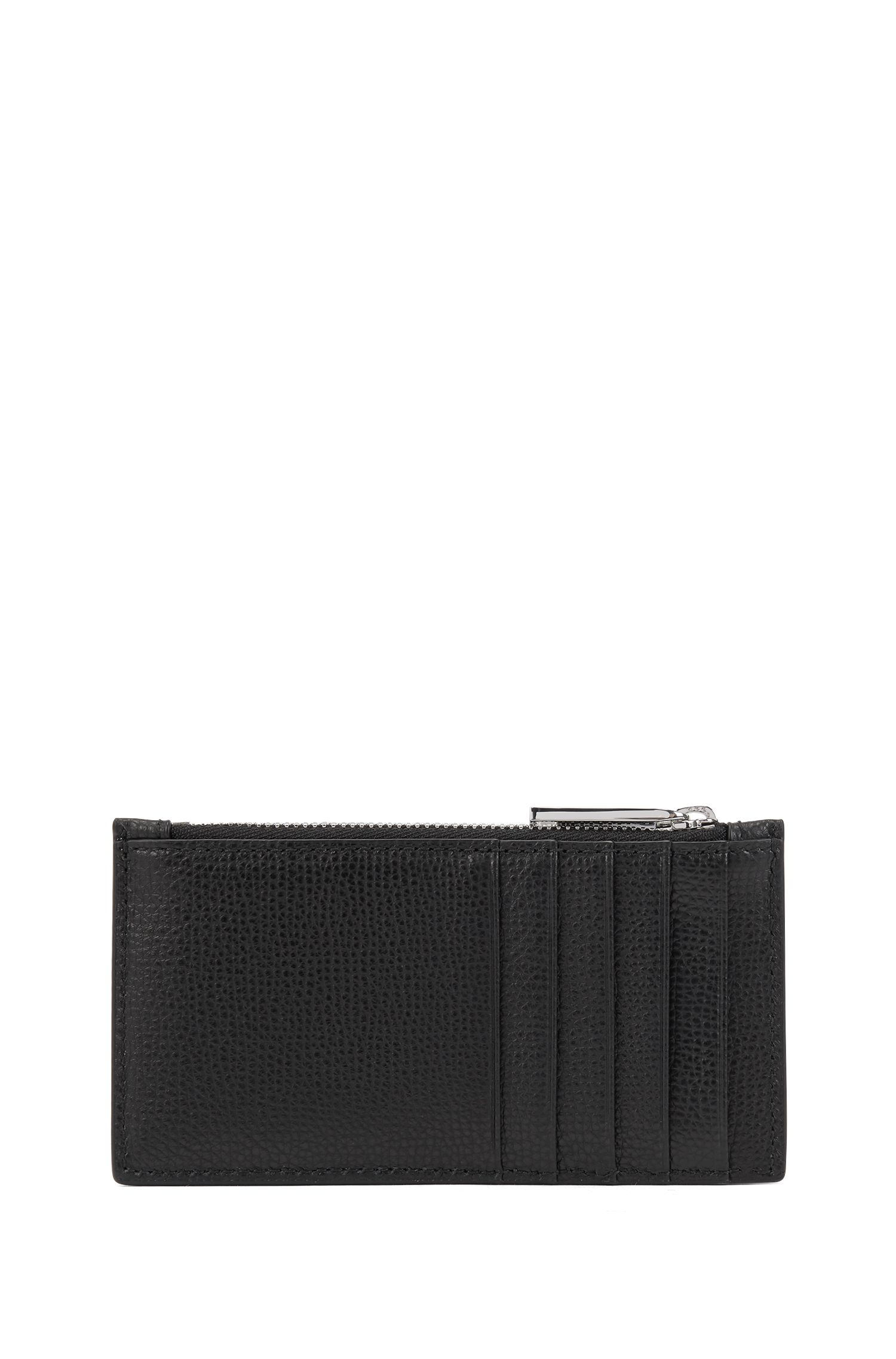 Card holder in grainy Italian leather with zip compartment, Black