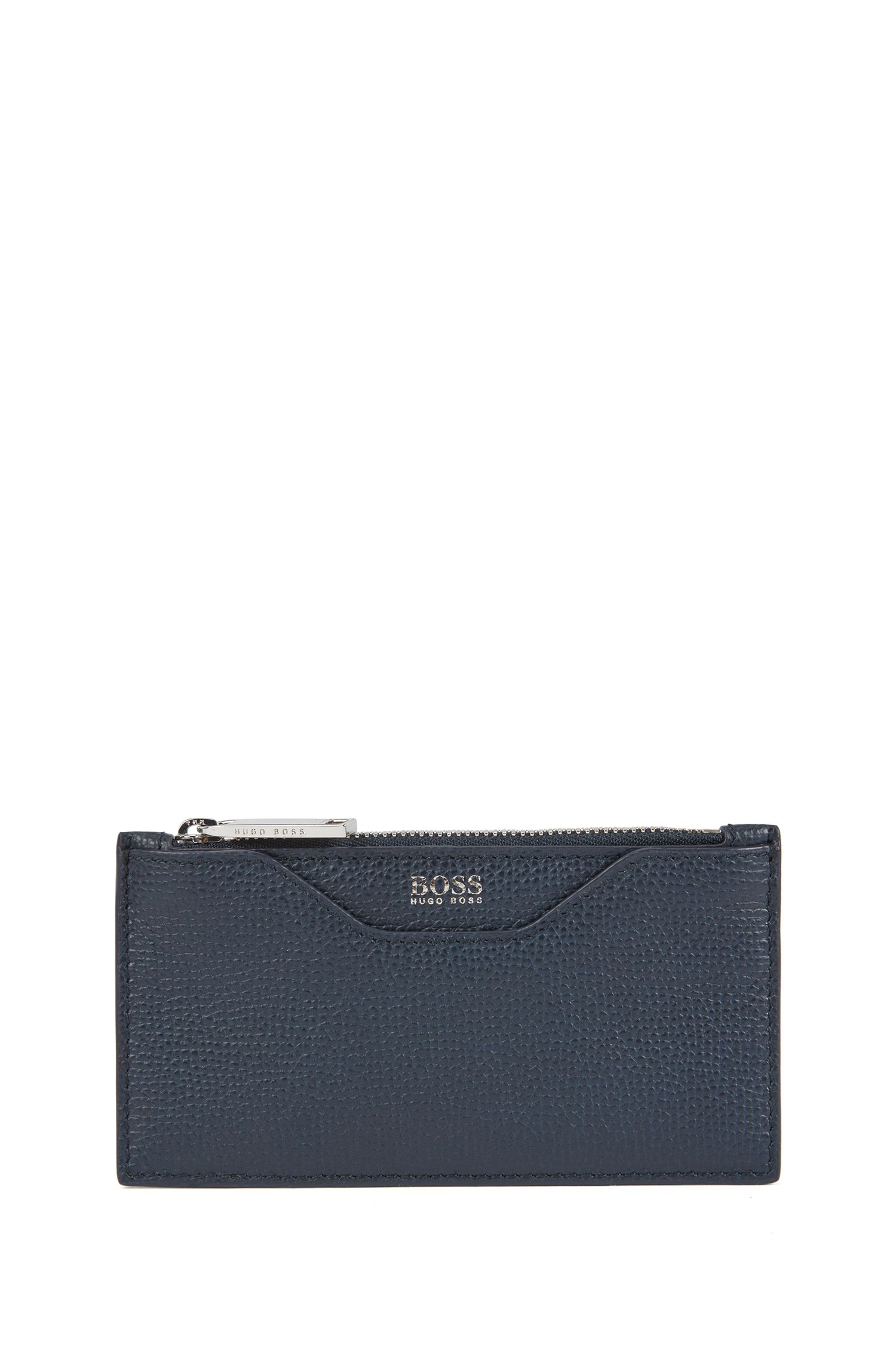 Card holder in grainy Italian leather with zip compartment, Dark Blue