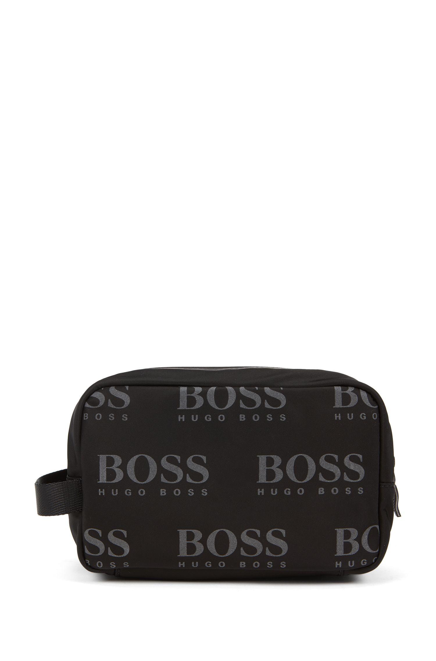 Logo-print washbag in gabardine with reflective zip, Black