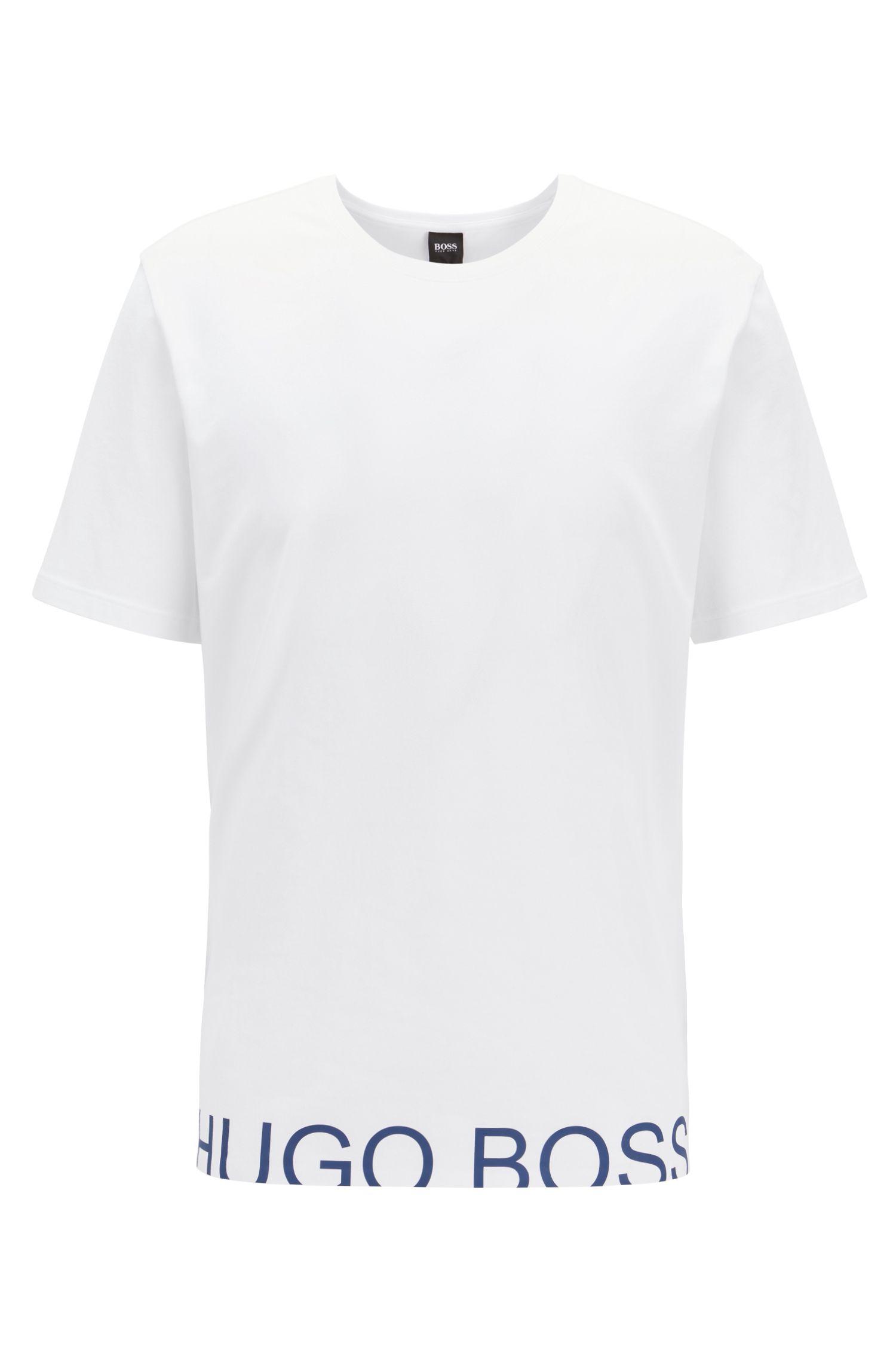 Pyjama-Shirt aus Single Jersey mit abgeschnittenem Logo, Weiß
