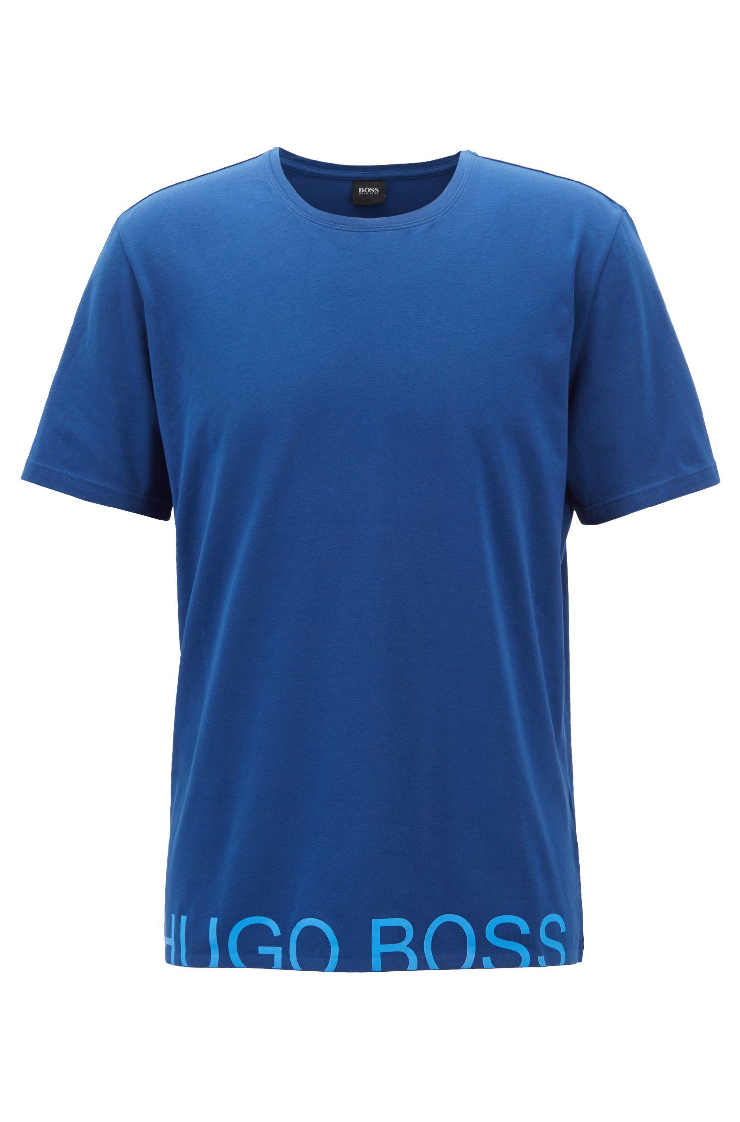 Pyjama-Shirt aus Single Jersey mit abgeschnittenem Logo, Blau