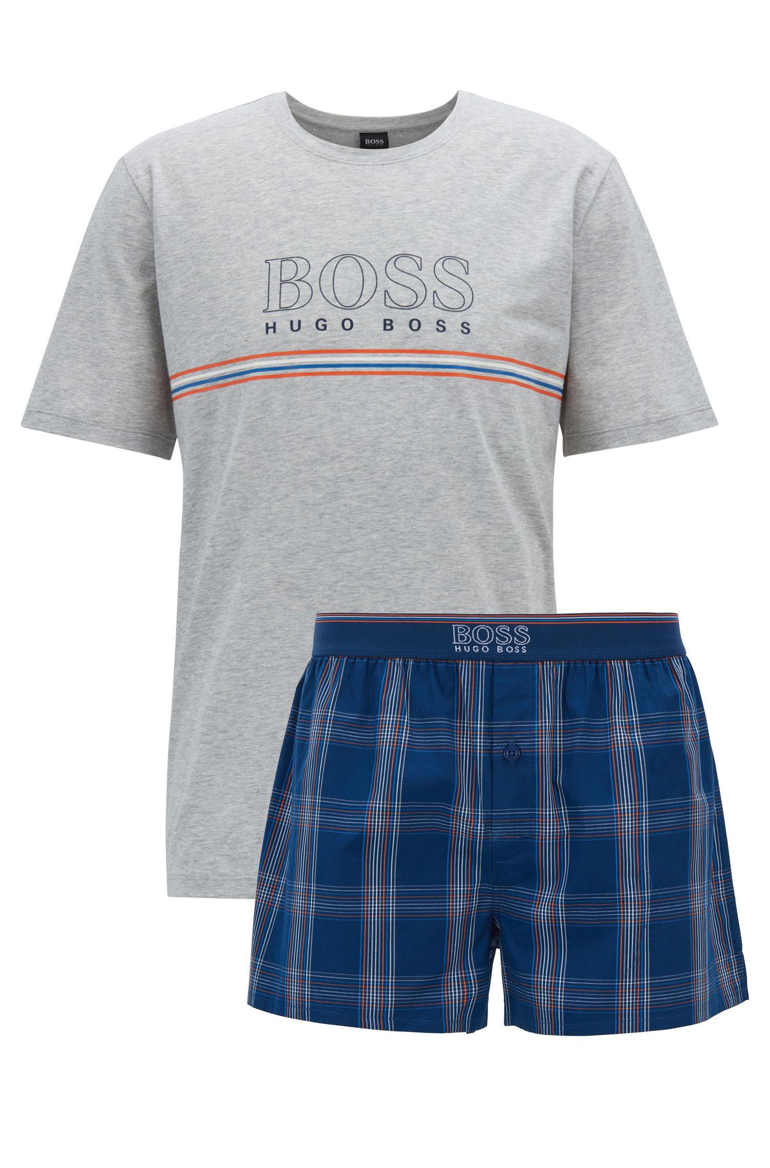 Kurzer Pyjama aus Single Jersey mit Logo-Details, Blau