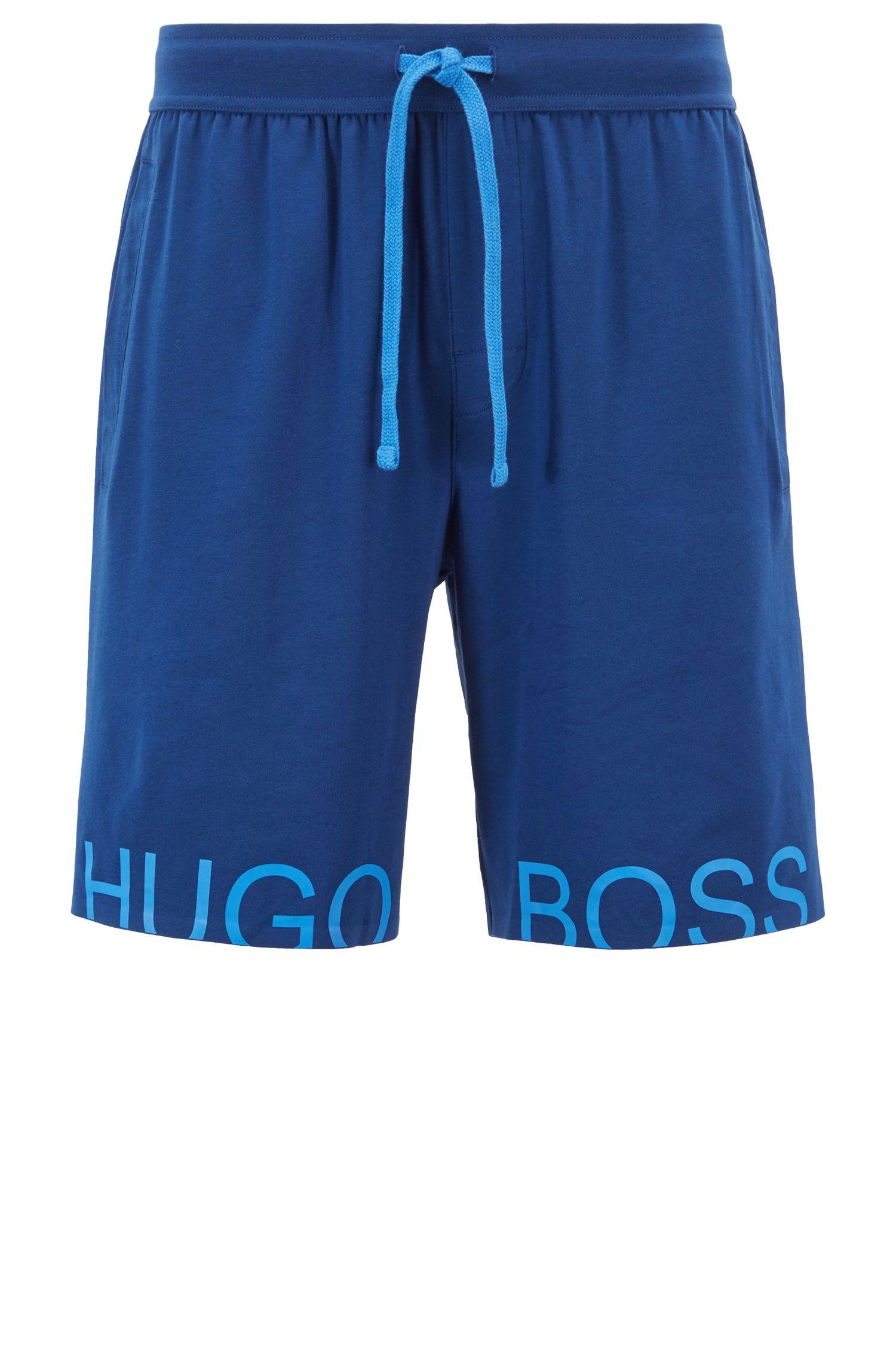 Pyjamashort met contrasterende logoprint, Blauw