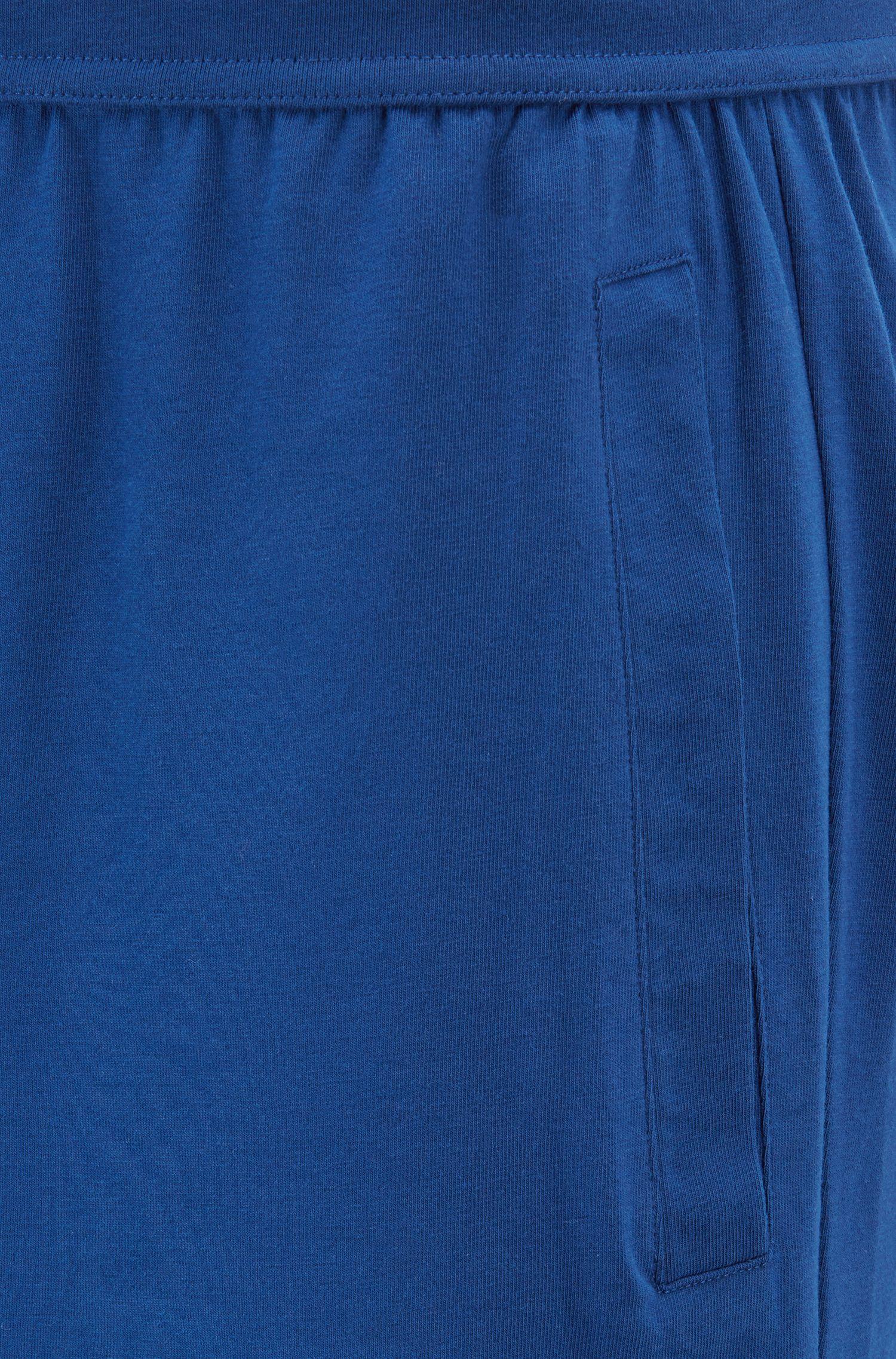 Short de pyjama à imprimé logo contrastant, Bleu