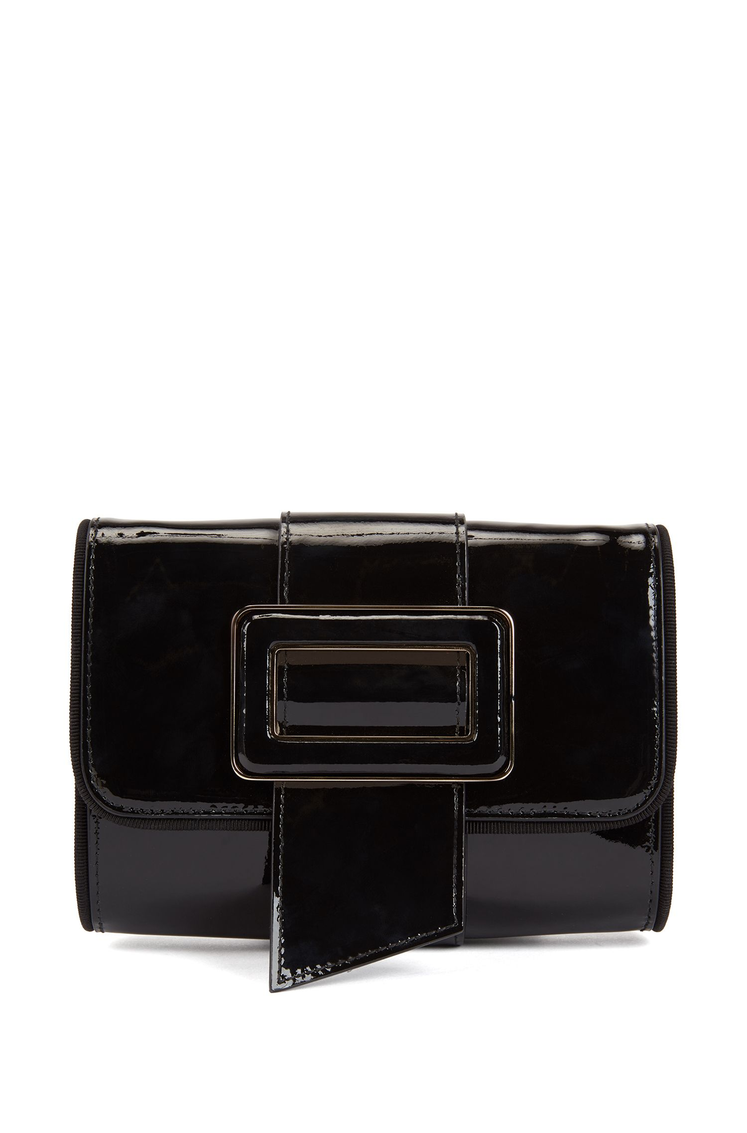 Patent-leather mini bag with statement buckle, Black