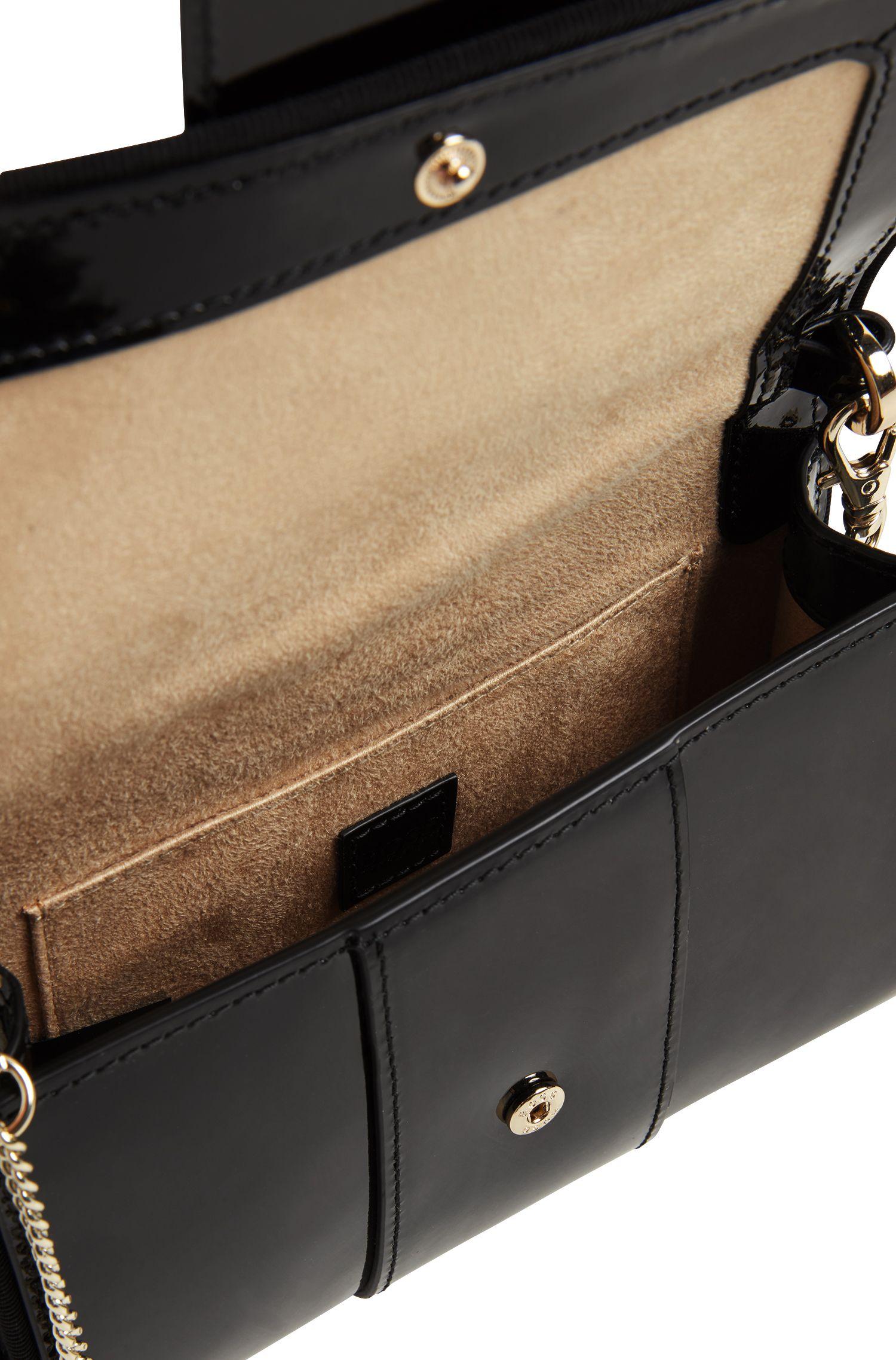 Mini sac en cuir verni à boucle originale, Noir