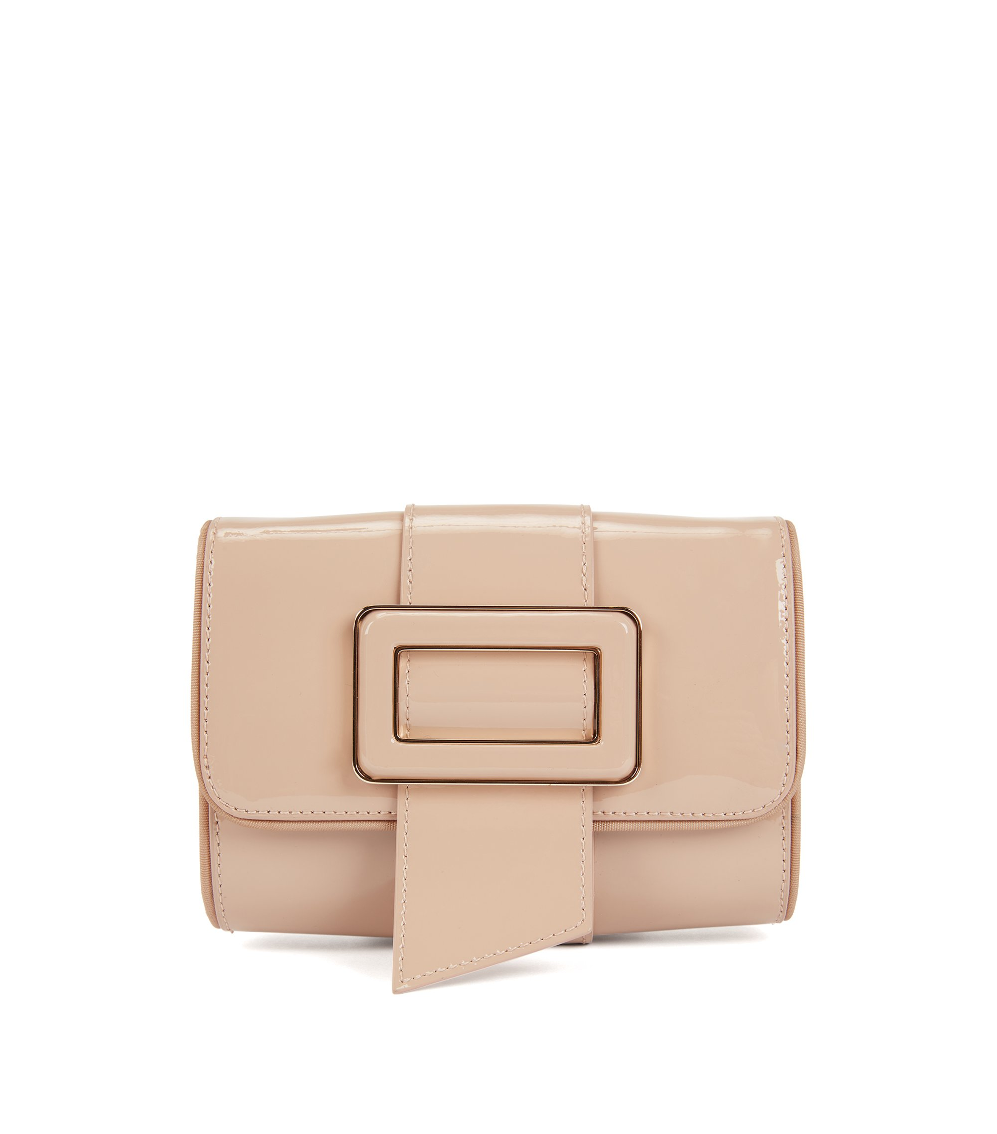 Patent-leather mini bag with statement buckle, Light Beige
