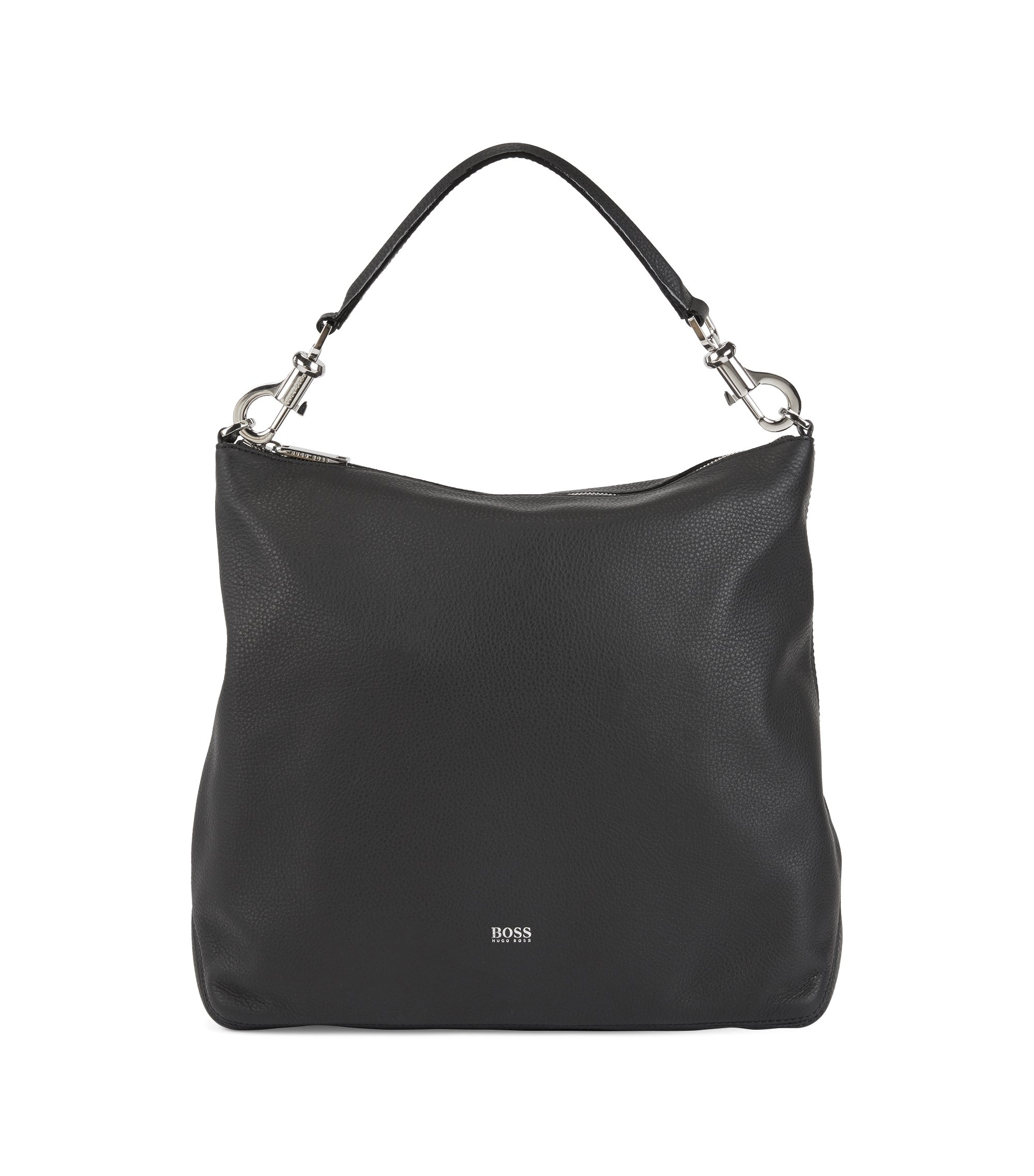 Hobo bag in grainy Italian leather with detachable strap, Noir