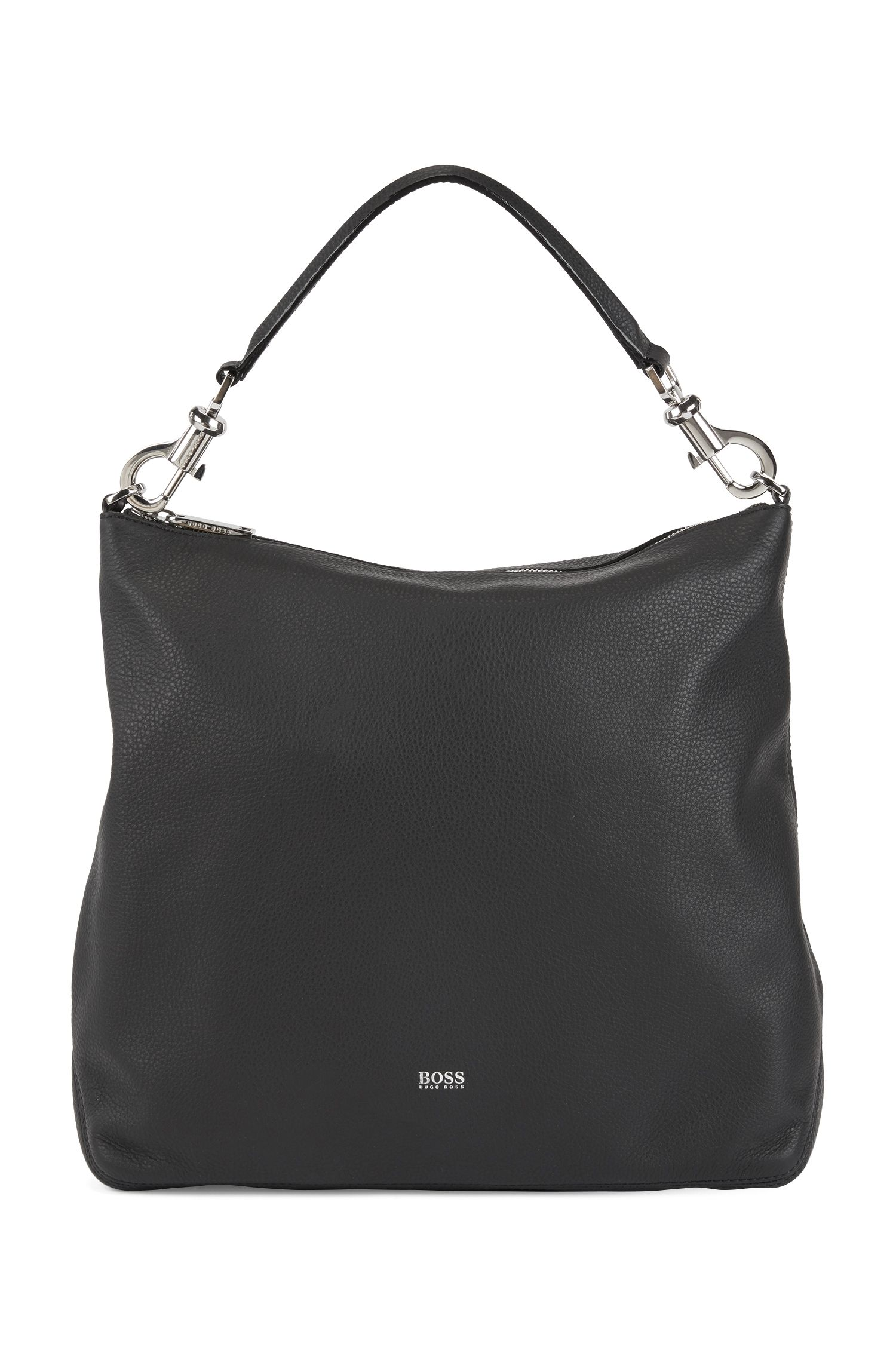 Hobo bag in grainy Italian leather with detachable strap, Black