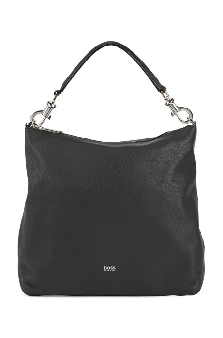Hobo Bag aus genarbtem italienischem Leder mit abnehmbarem Riemen, Schwarz