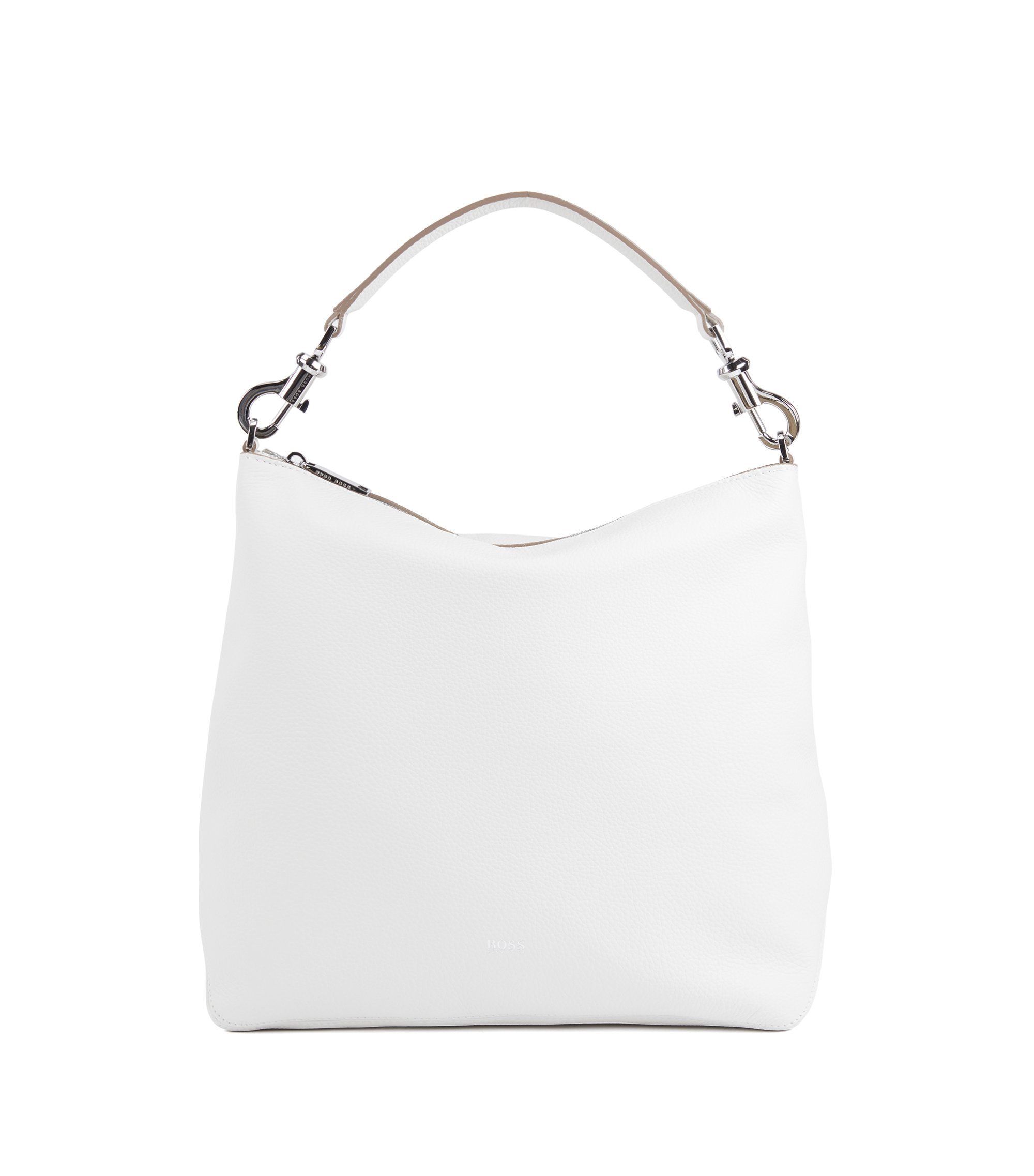 Hobo bag in grainy Italian leather with detachable strap, Blanc