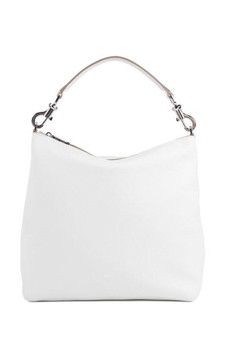Hobo Bag aus genarbtem italienischem Leder mit abnehmbarem Riemen, Weiß