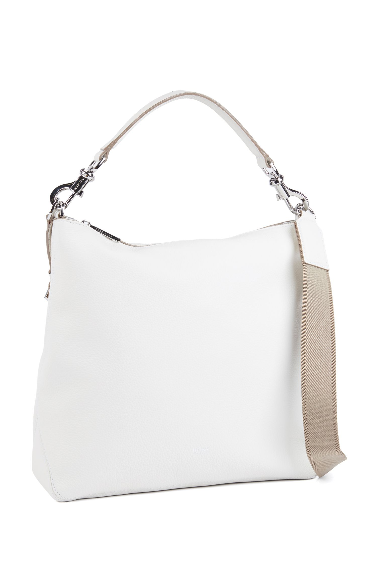 Hobo bag in grainy Italian leather with detachable strap, White