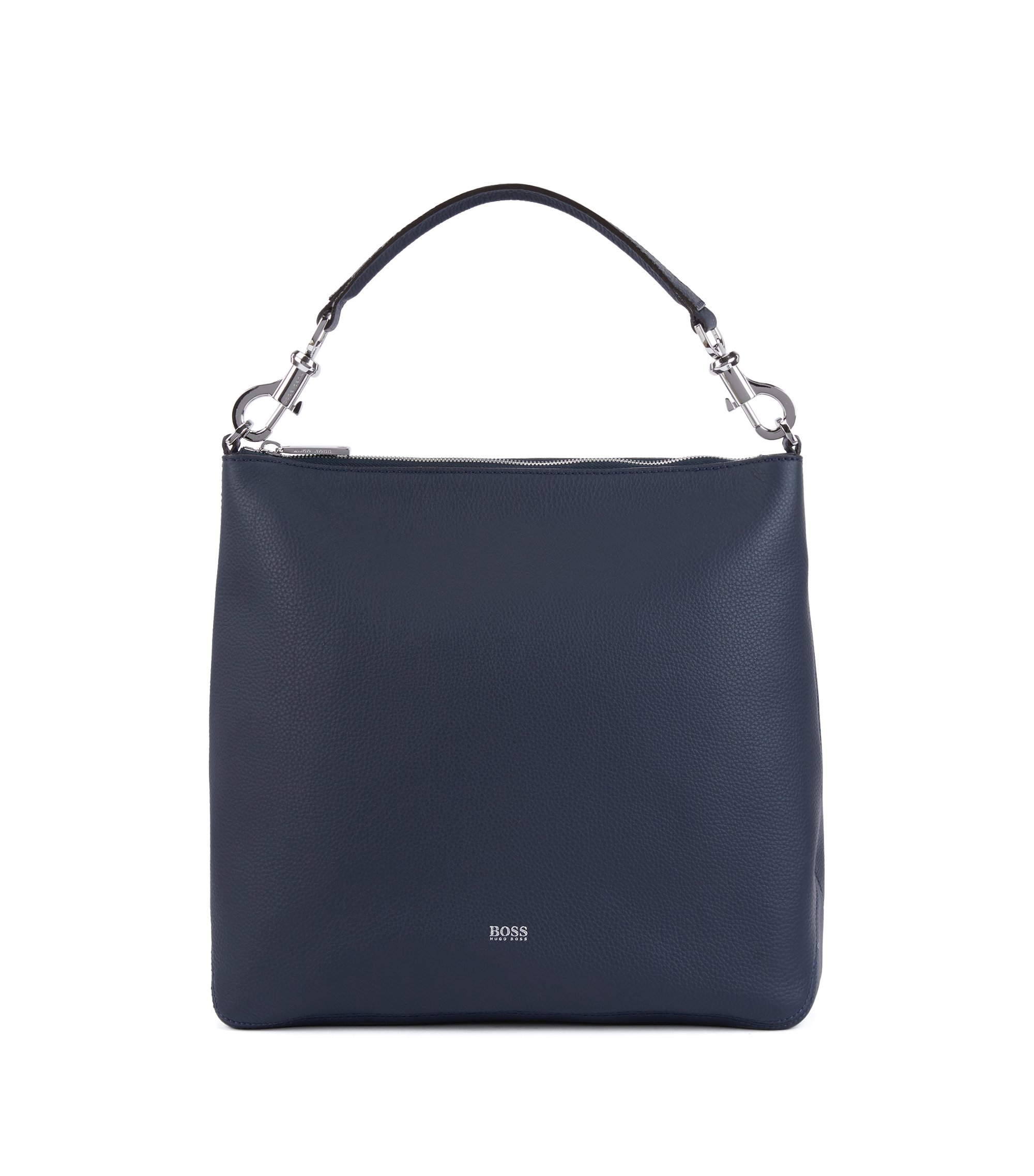 Hobo bag in grainy Italian leather with detachable strap, Dark Blue