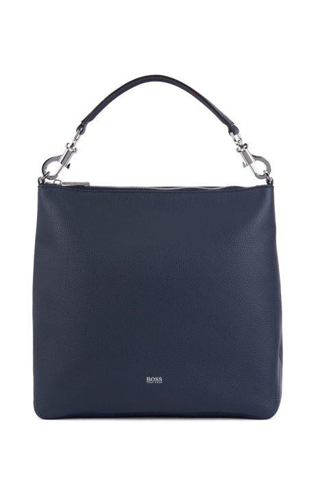 Hobo Bag aus genarbtem italienischem Leder mit abnehmbarem Riemen, Dunkelblau