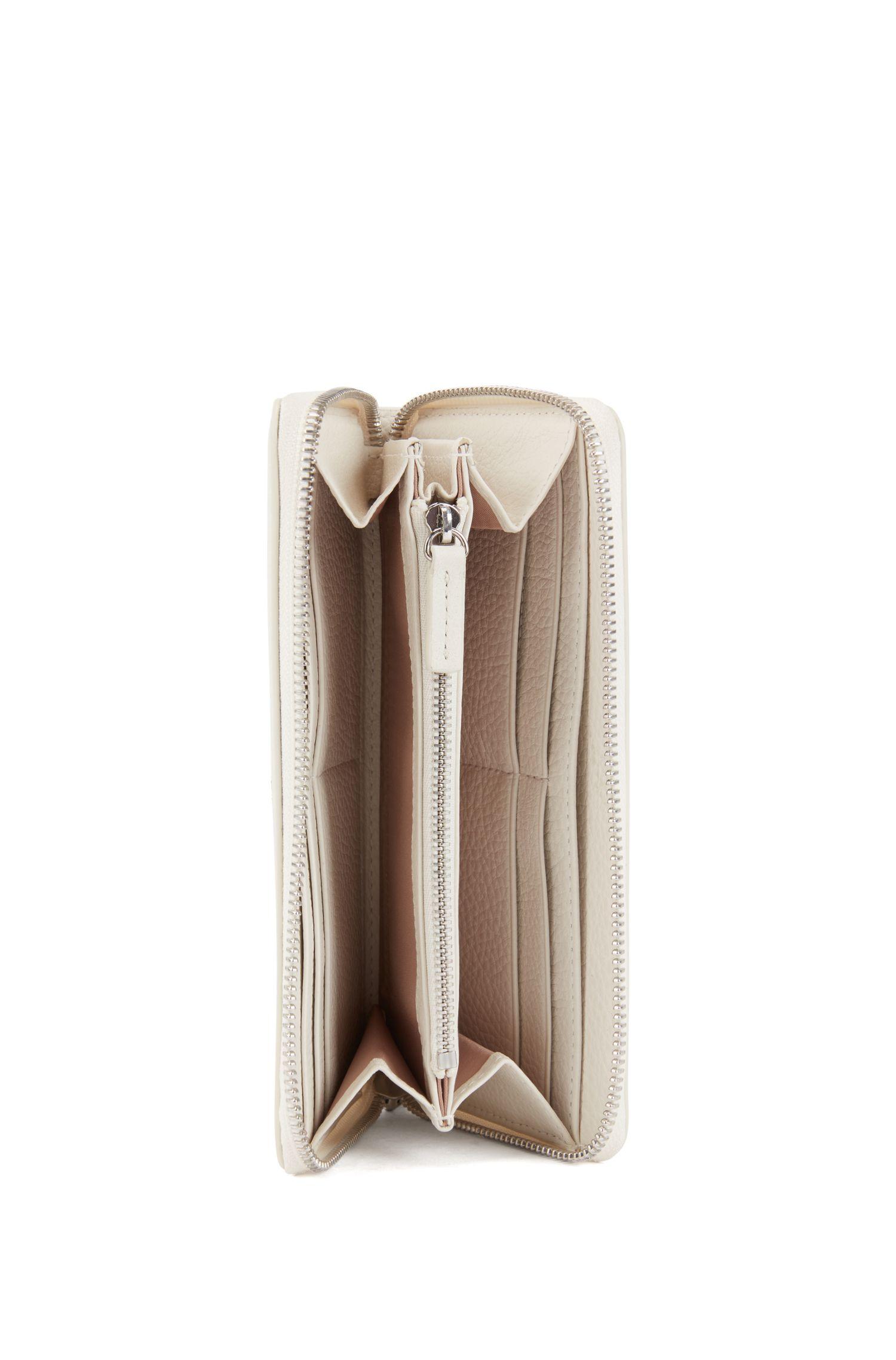 Zip-around wallet in grainy Italian leather, White