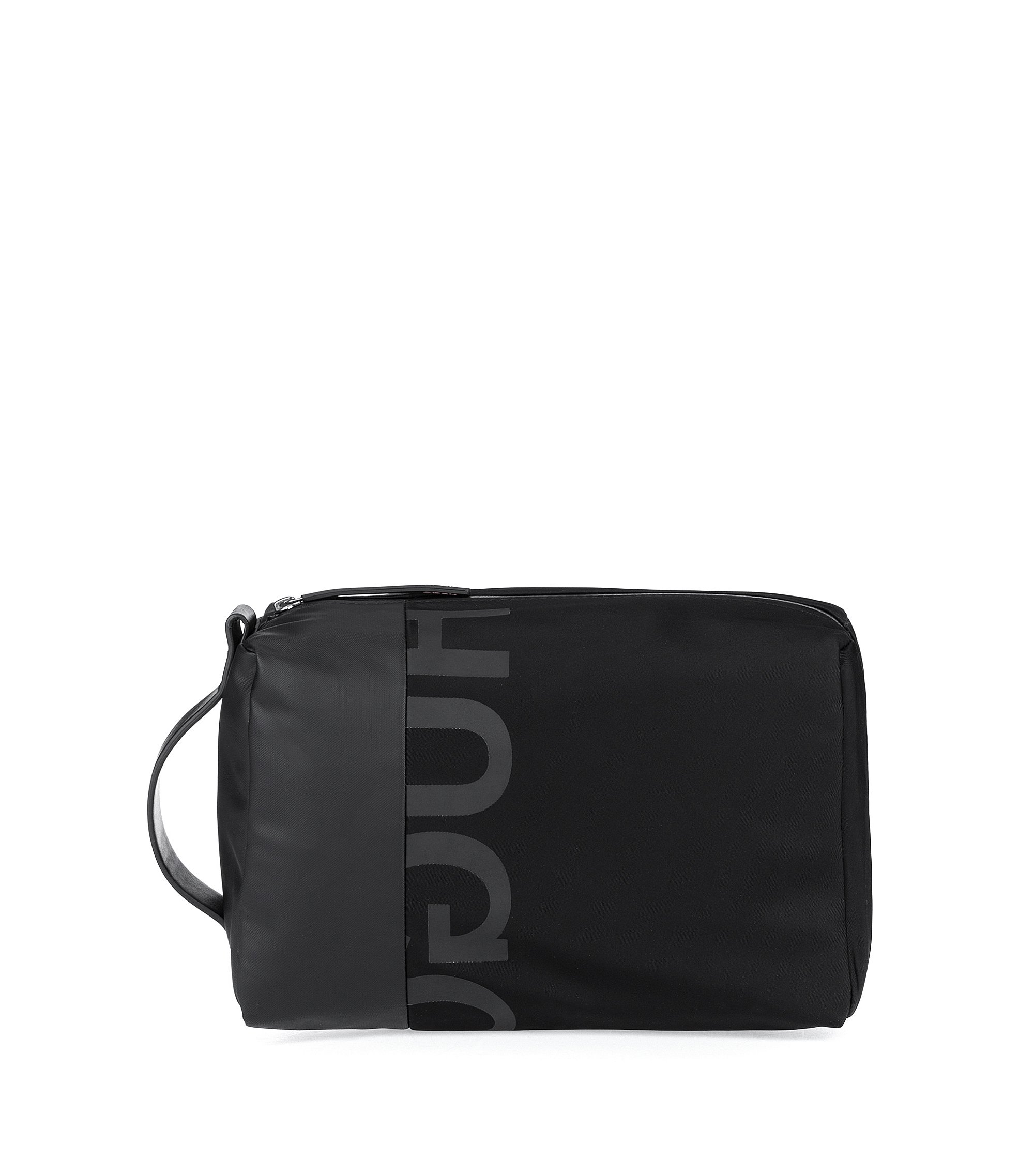 Zip-close washbag in gabardine with reverse logo, Black