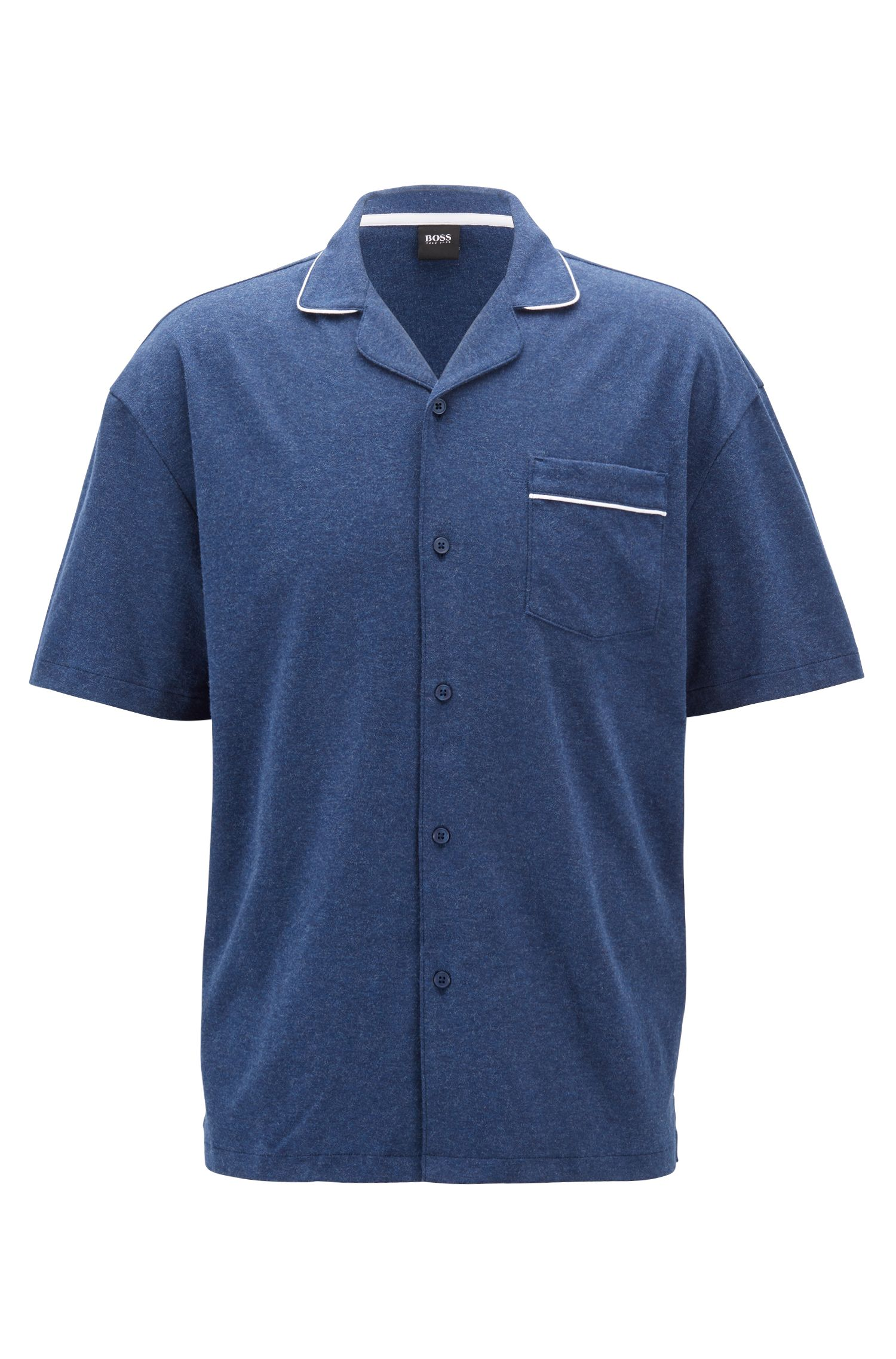 Pigiama regular fit in cotone intrecciato, Blu