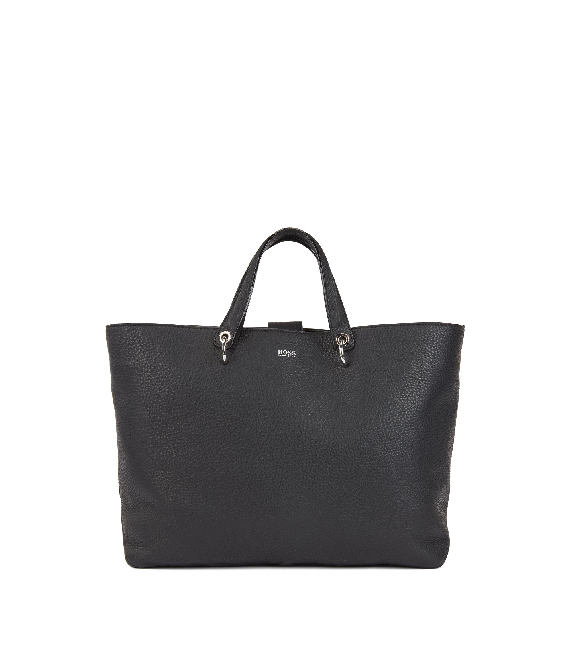 Tote bag in grainy Italian leather with multifunctional straps, Noir