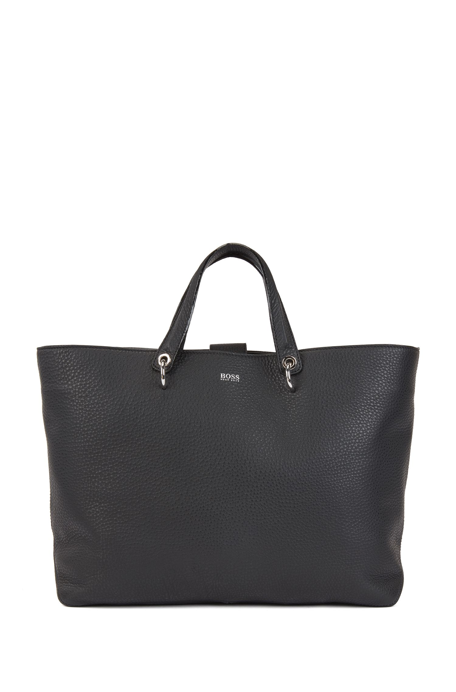 Tote bag in grainy Italian leather with multifunctional straps, Black