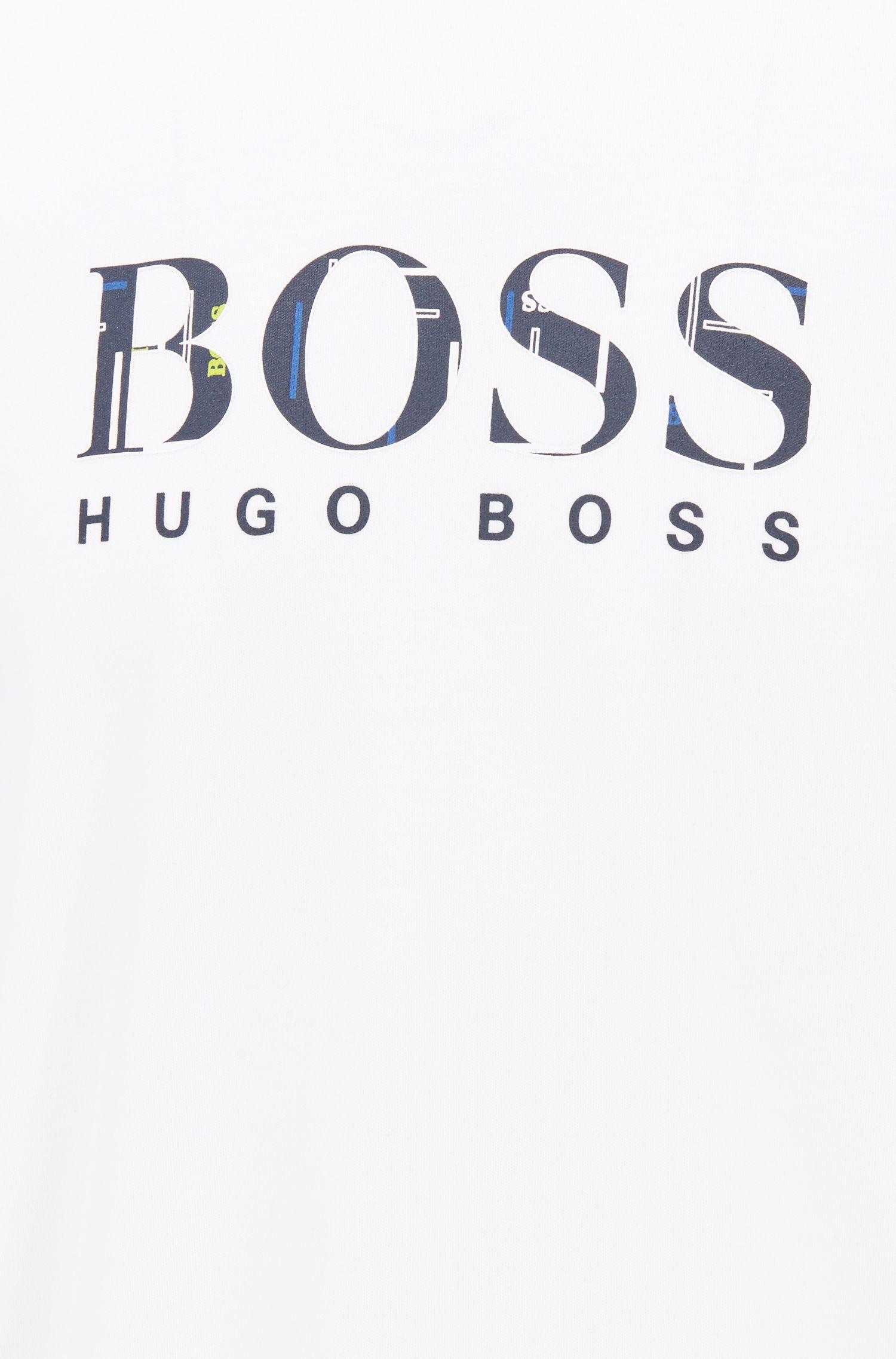 Camiseta de pijama regular fit en algodón con ilustración del logo, Blanco