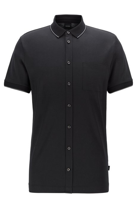 Slim-fit polo shirt in cotton with stripe detail, Black