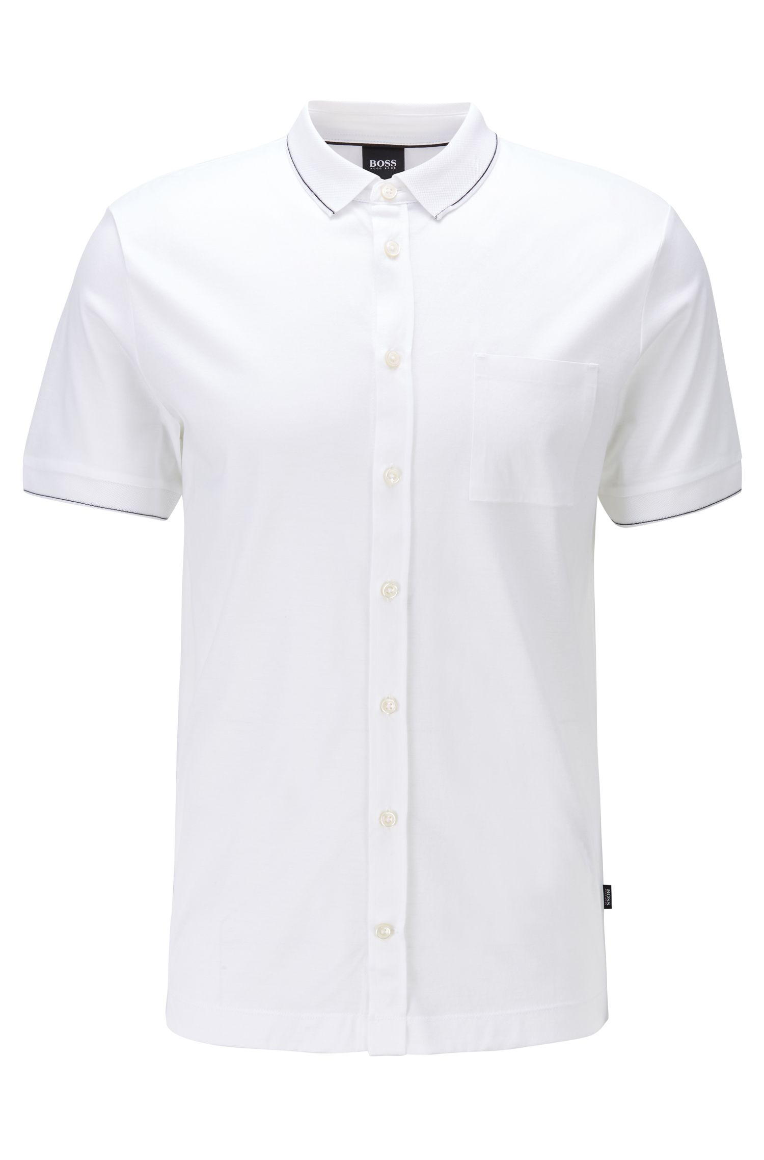 Slim-fit polo shirt in cotton with stripe detail, White