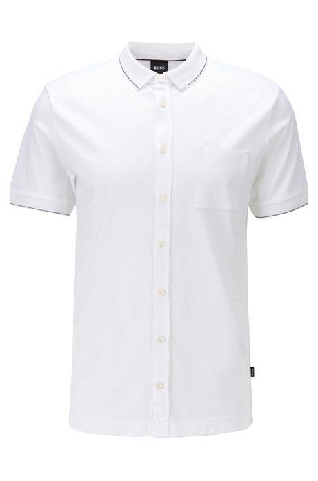 Polo Slim Fit en coton avec détails à rayures, Blanc