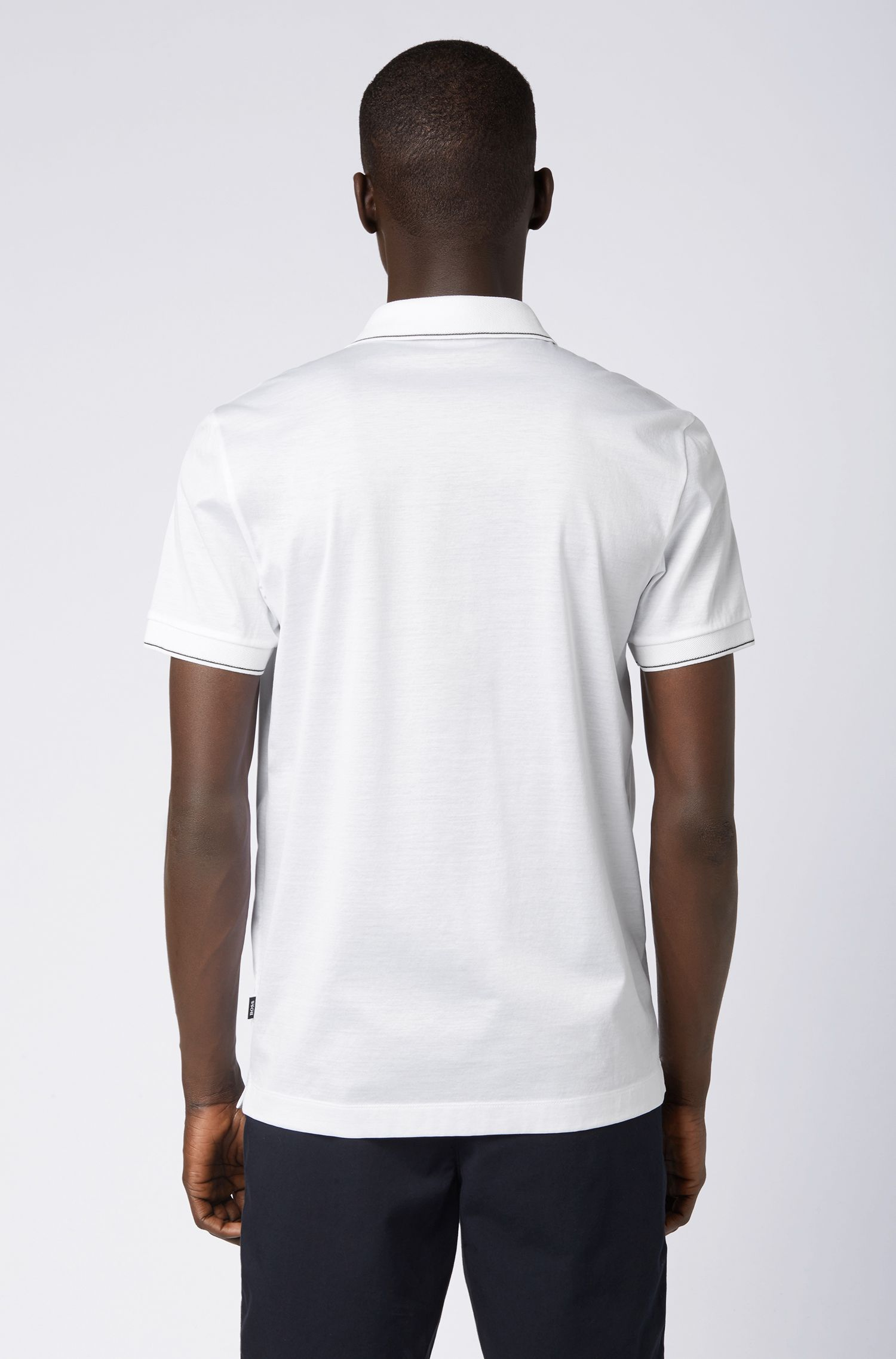 Poloshirt aus Baumwolle mit Streifen-Dessin, Weiß