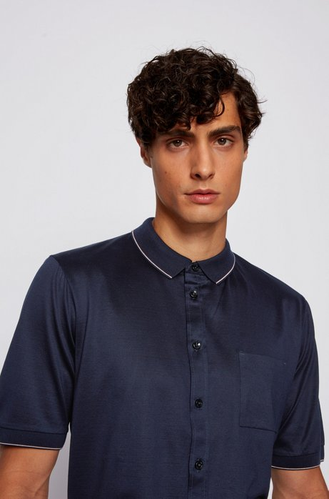Slim-fit polo shirt in cotton with stripe detail, Dark Blue