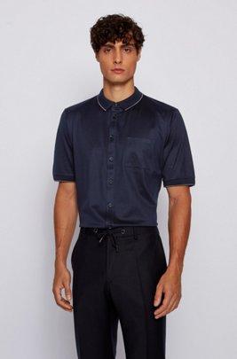 Polo slim fit de algodón con detalles de rayas, Azul oscuro