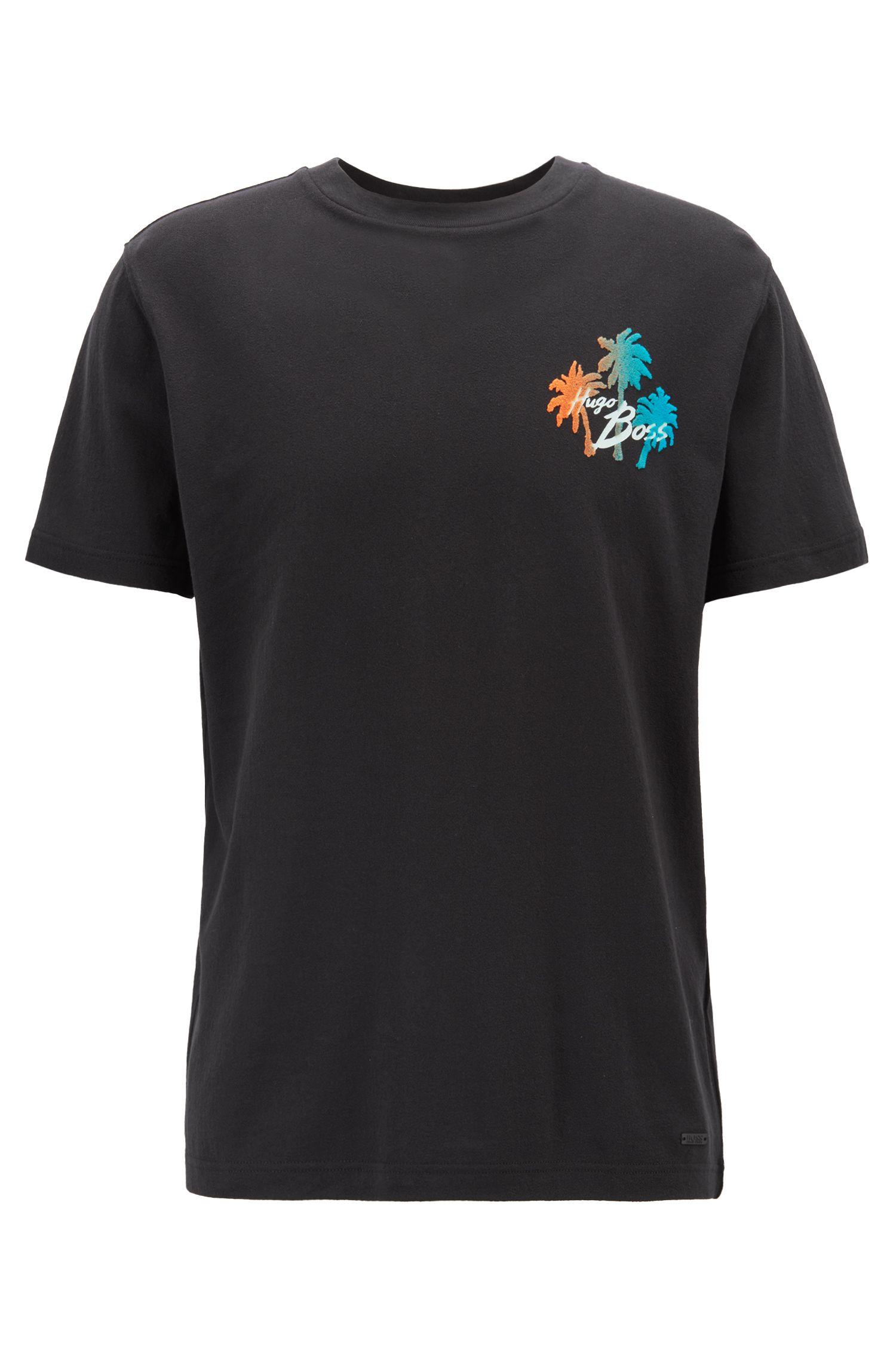 Camiseta relaxed fit con estampado gráfico de efecto ante, Negro