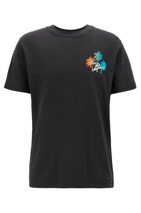 T-Shirt aus Vollzwirn-Baumwolle mit Print mit Veloursleder-Effekt, Schwarz