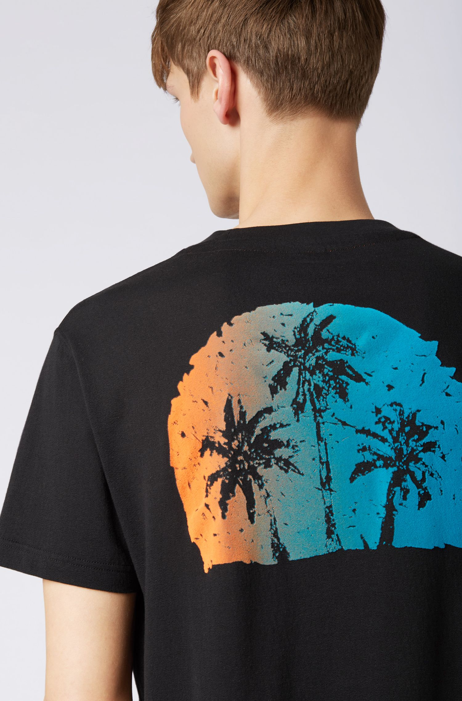 Relaxed-fit T-shirt with suede-effect graphic print, Black