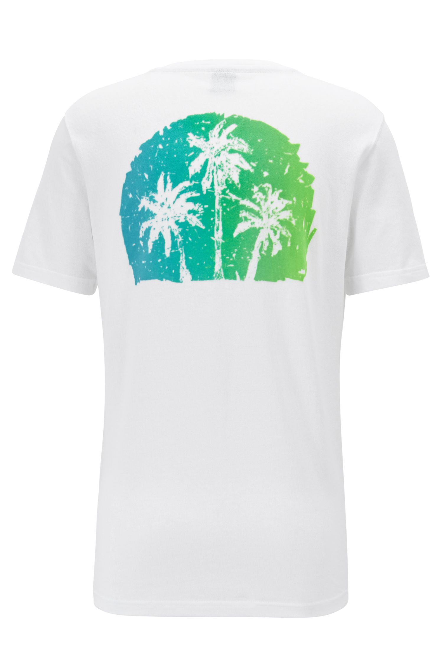 Relaxed-fit T-shirt met grafische print in suèdelook, Wit