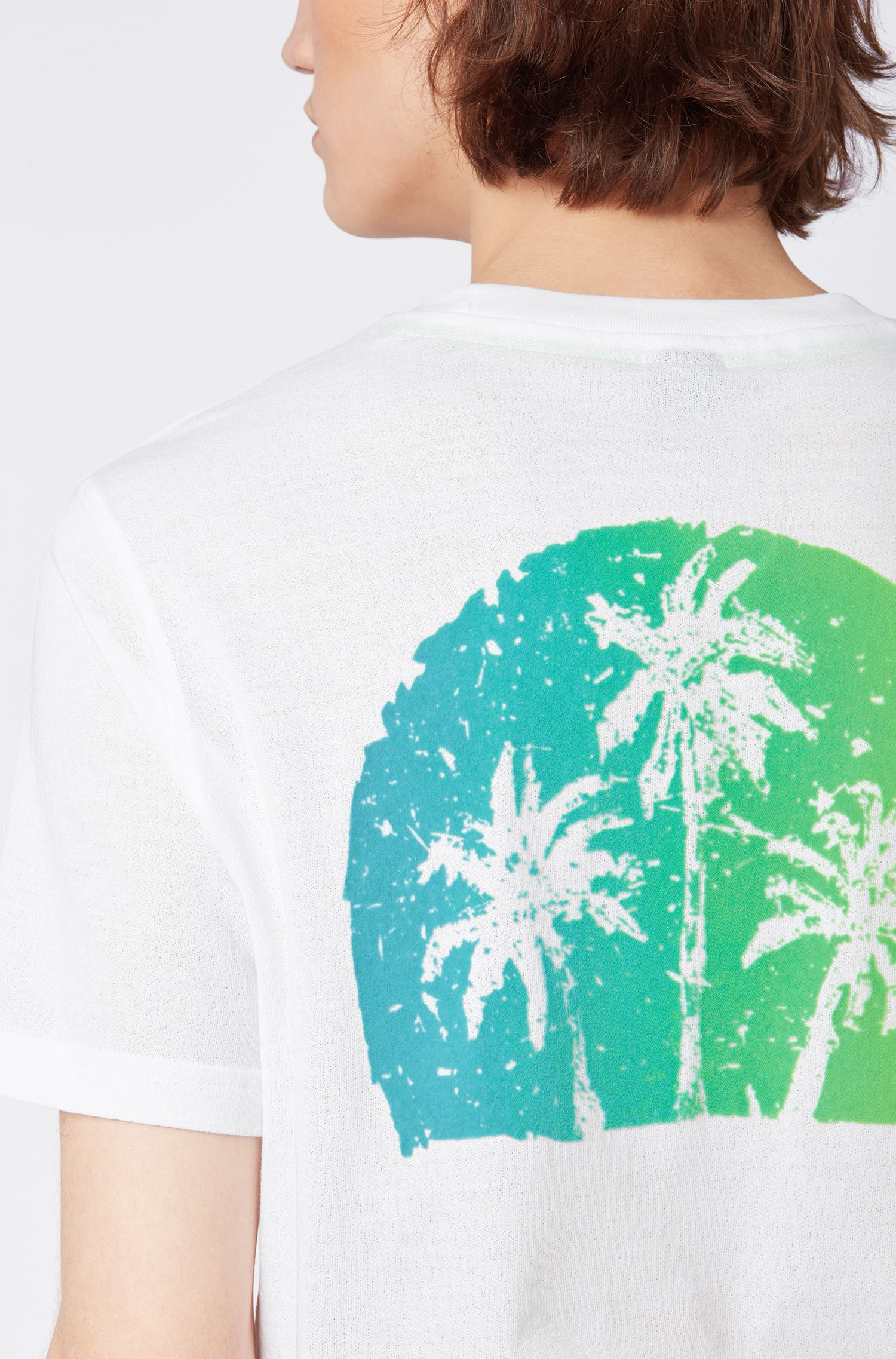 T-shirt relaxed fit con stampa grafica effetto scamosciato, Bianco