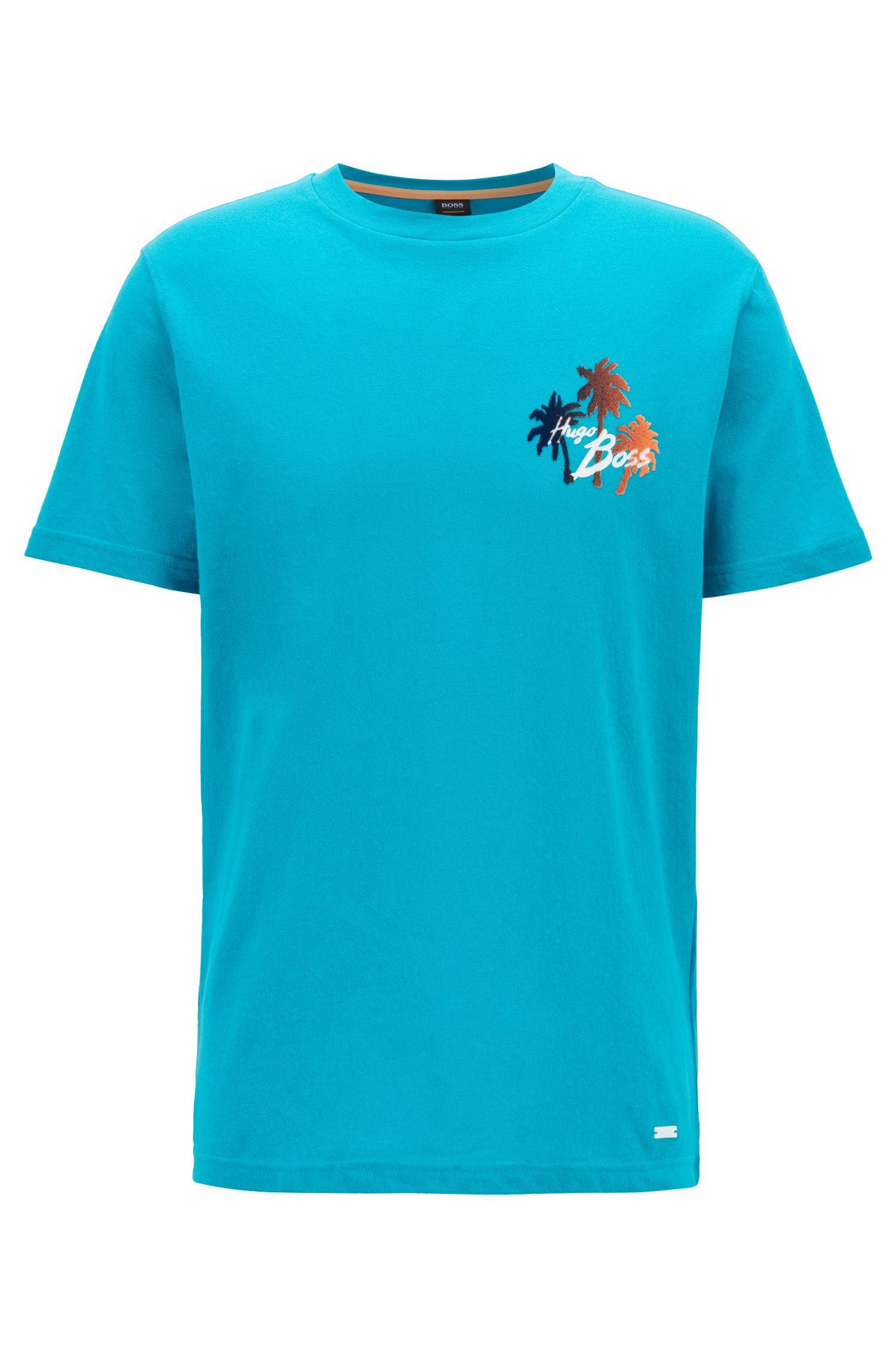 Camiseta relaxed fit con estampado gráfico de efecto ante, Azul
