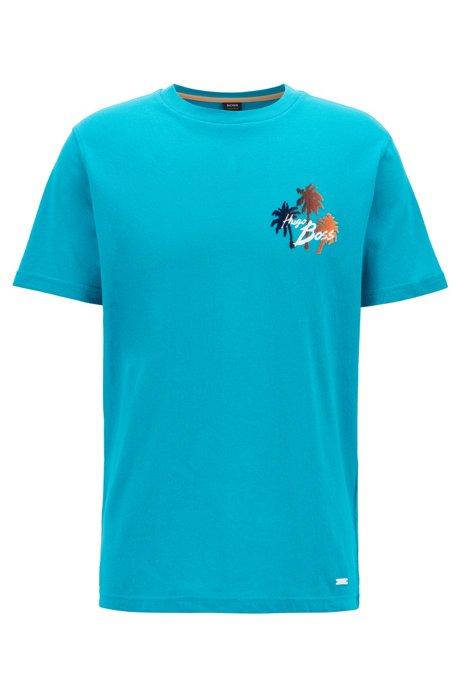 T-Shirt aus Vollzwirn-Baumwolle mit Print mit Veloursleder-Effekt, Blau