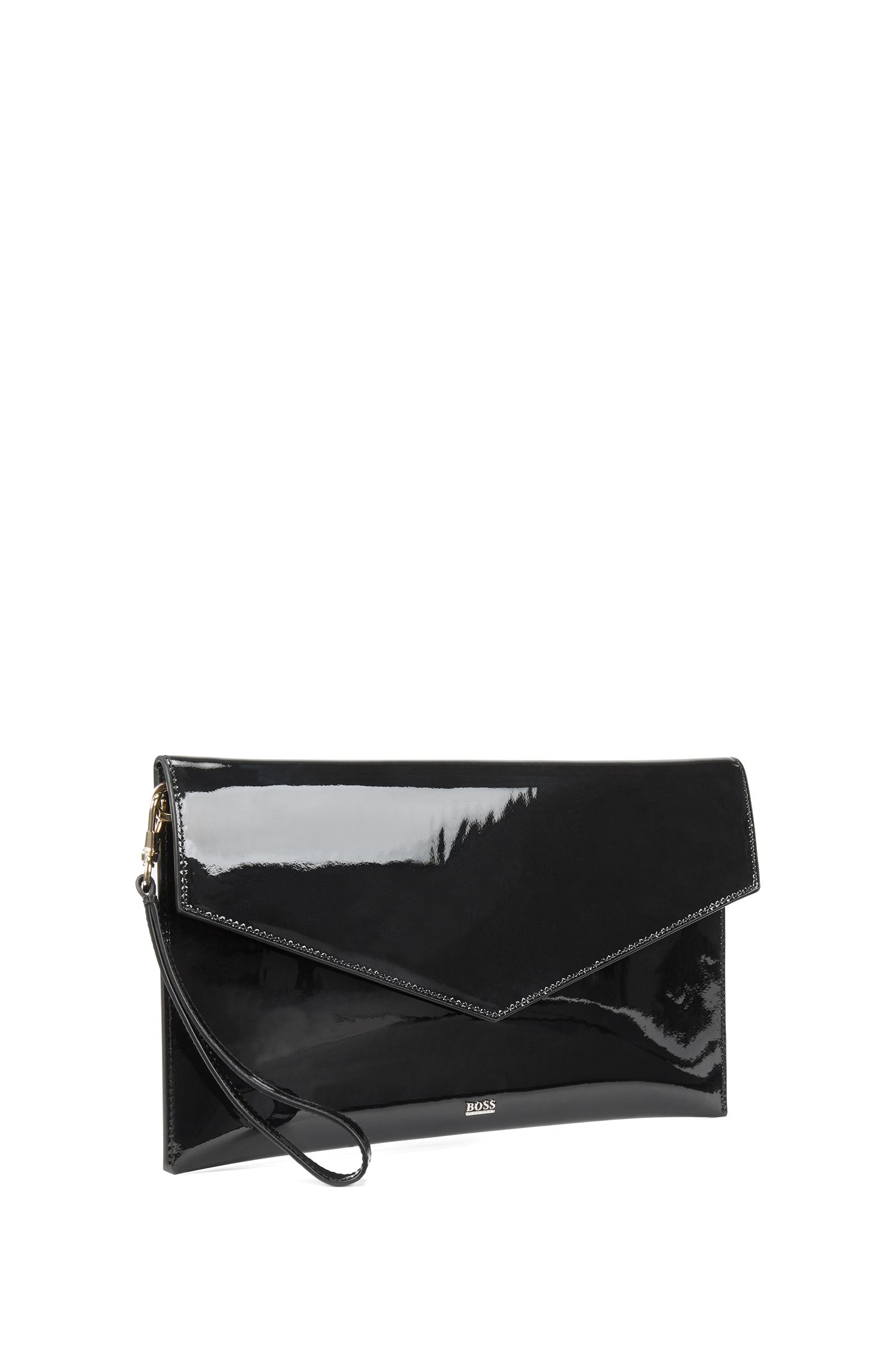 Clutch handbag in patent calf leather with metallic lettering, Black