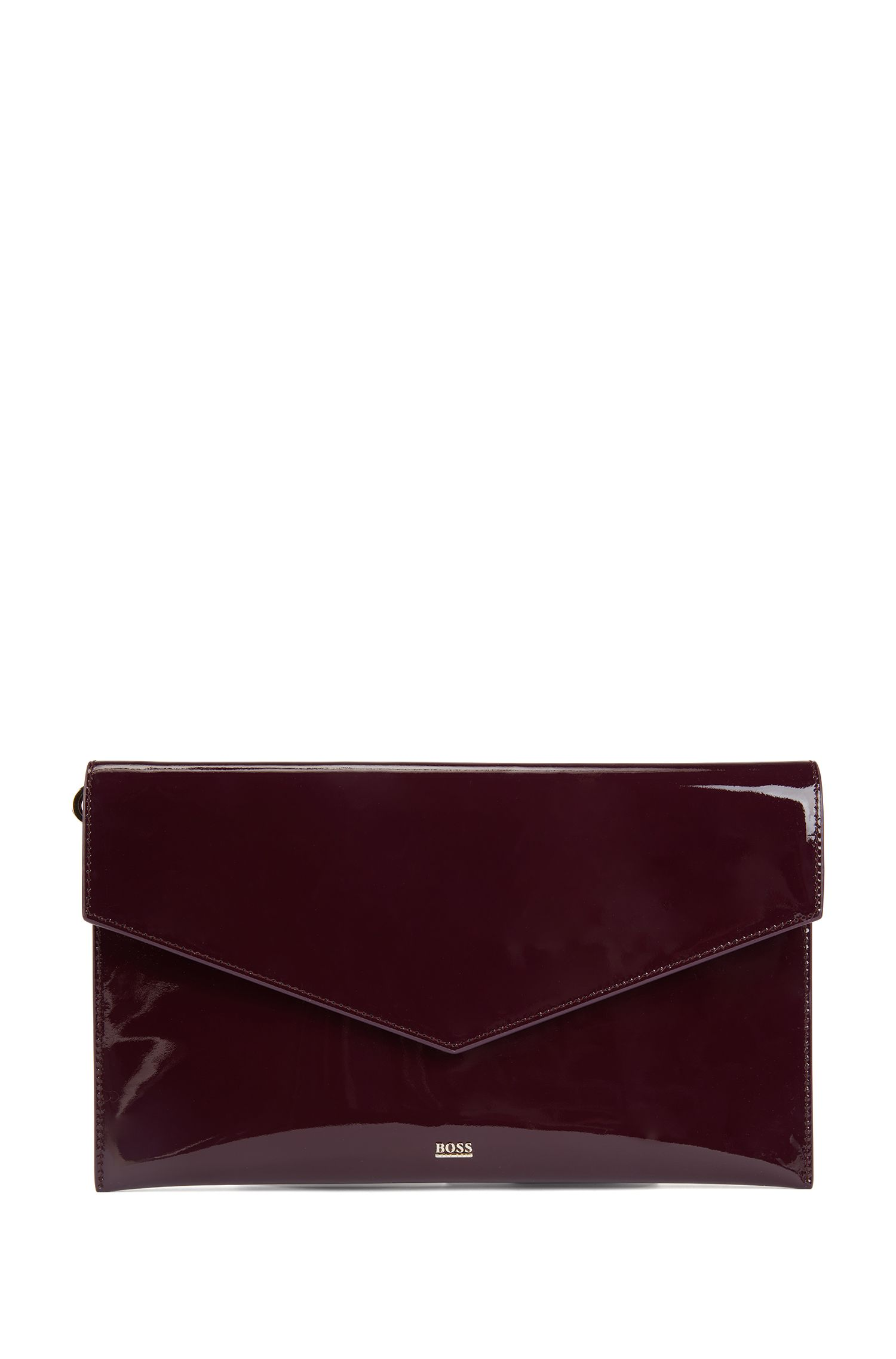 Clutch handbag in patent calf leather with metallic lettering, Dark pink
