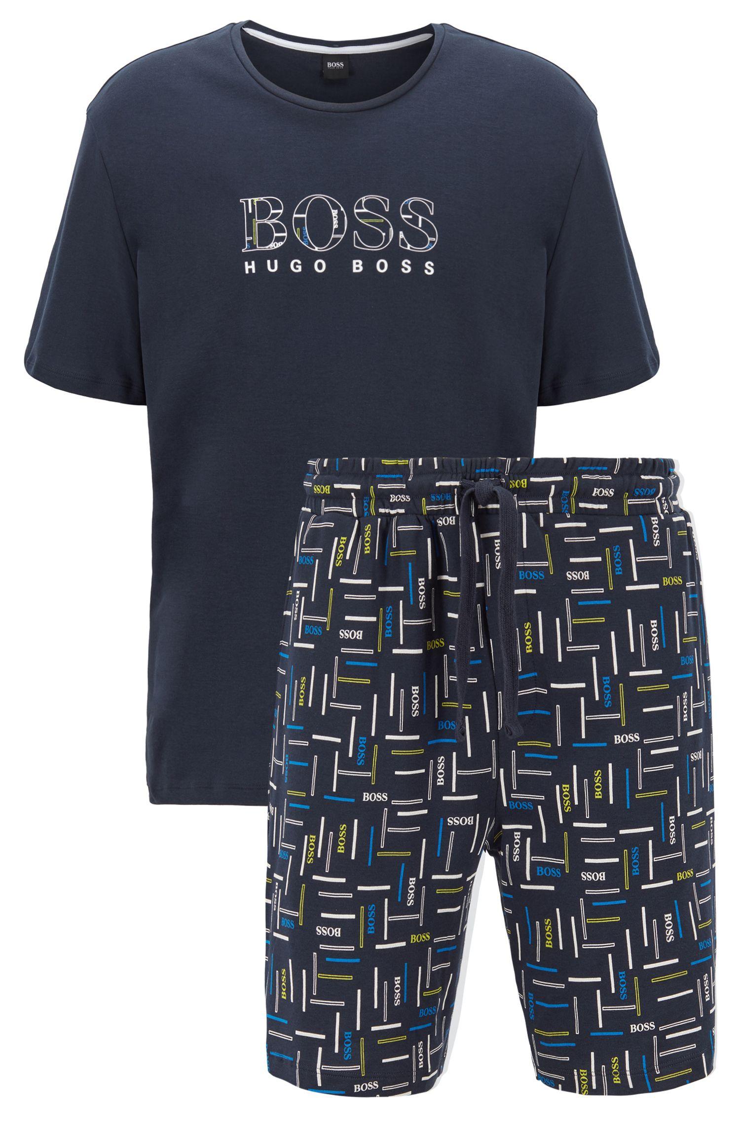 Pyjama en coton interlock à logo imprimé, Bleu