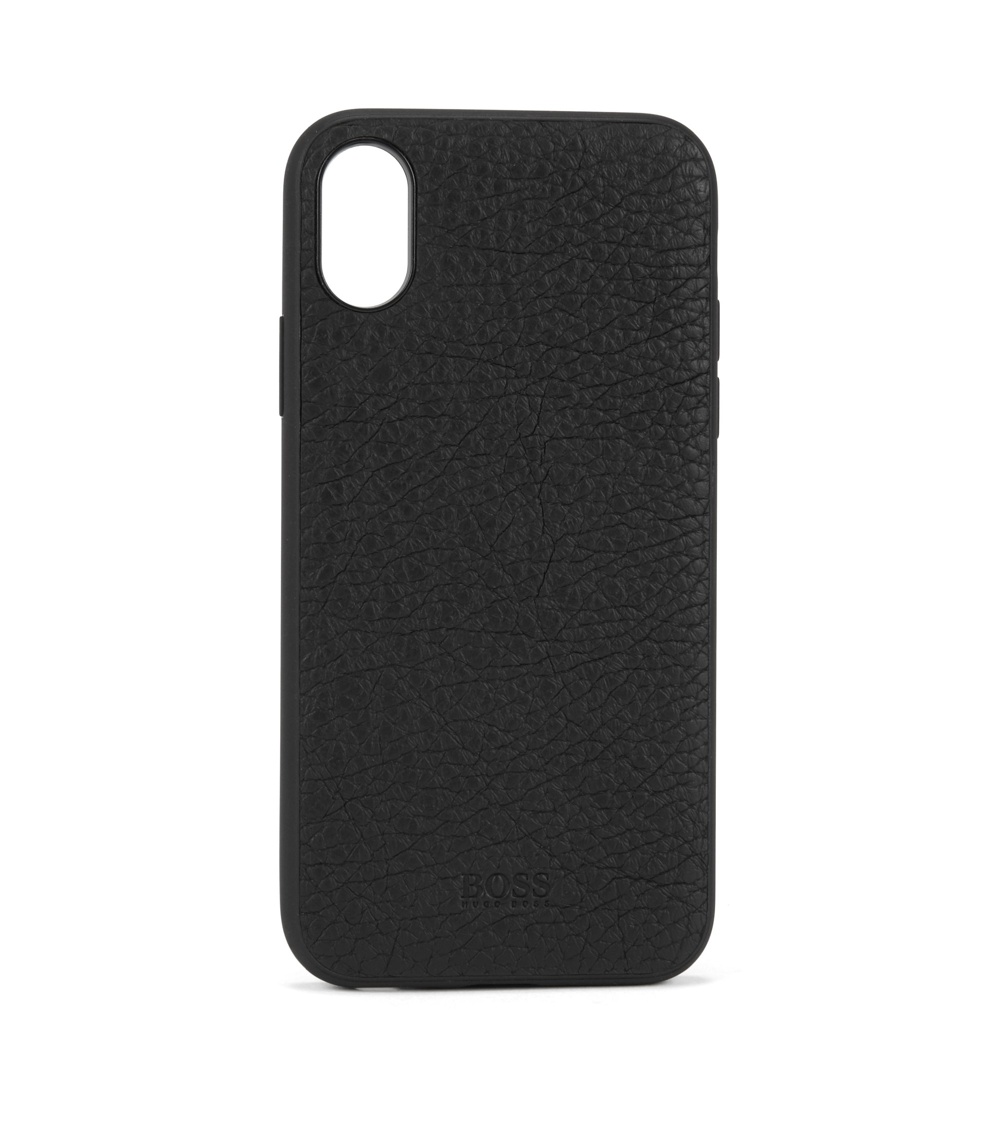 iPhone X smartphone case in grained Italian leather, Black