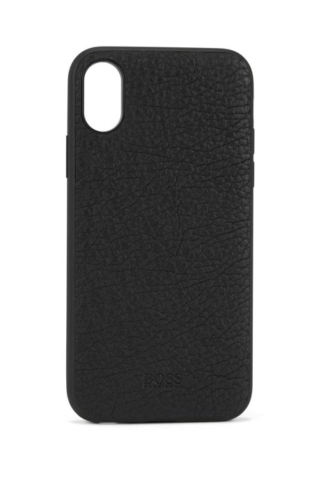 half off 47cef 2e661 BOSS - iPhone X smartphone case in grained Italian leather